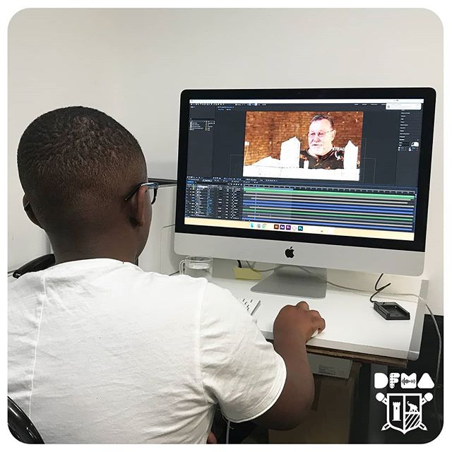 Shaquille working on an animation sequence for a piece of the draper voices  documentary. #DFMA #elephantandcastle #animation #aftereffects #newskills