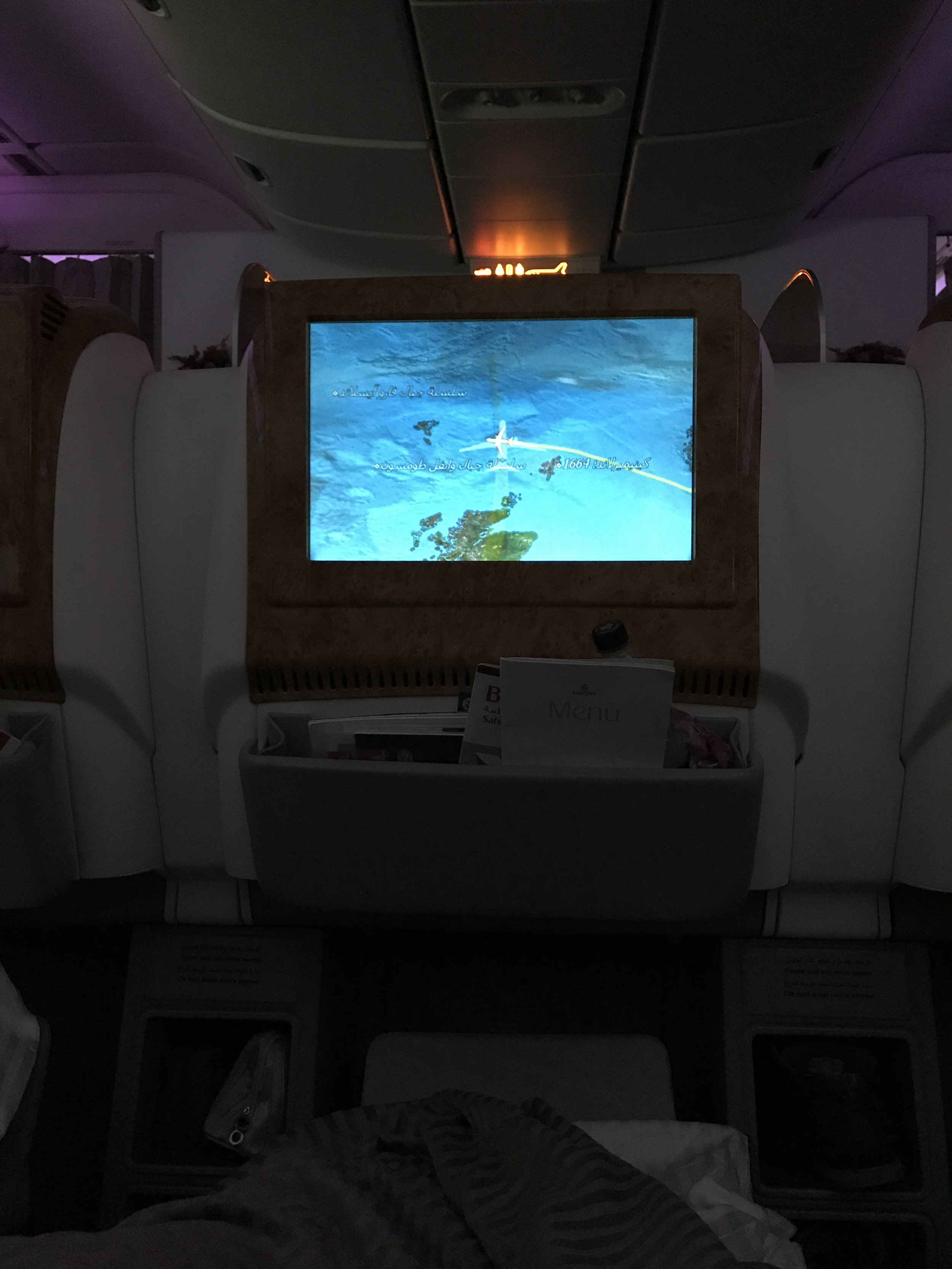 Dark Business Class Cabin