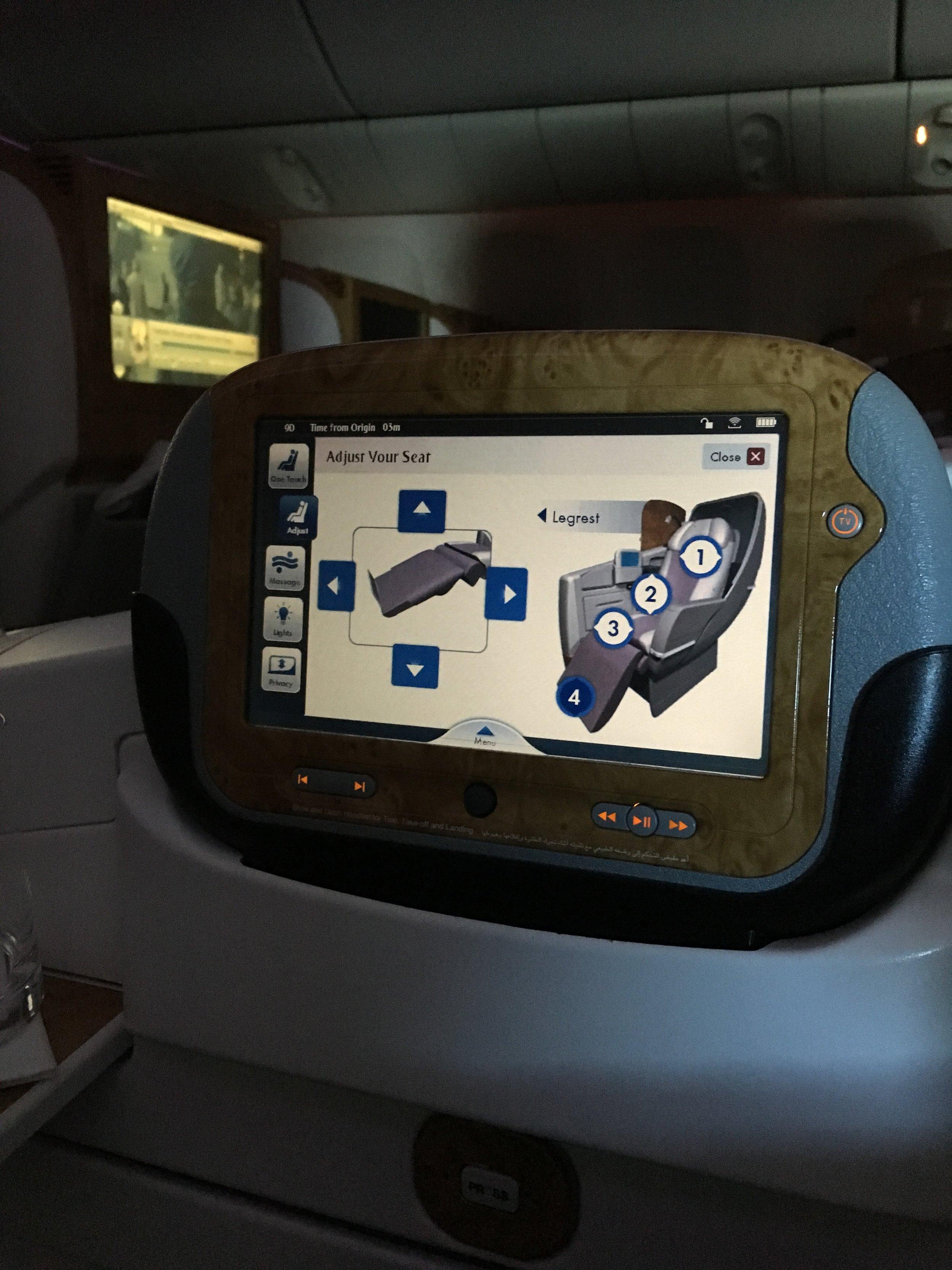 Emirates Business Class Seat Adjustment Options