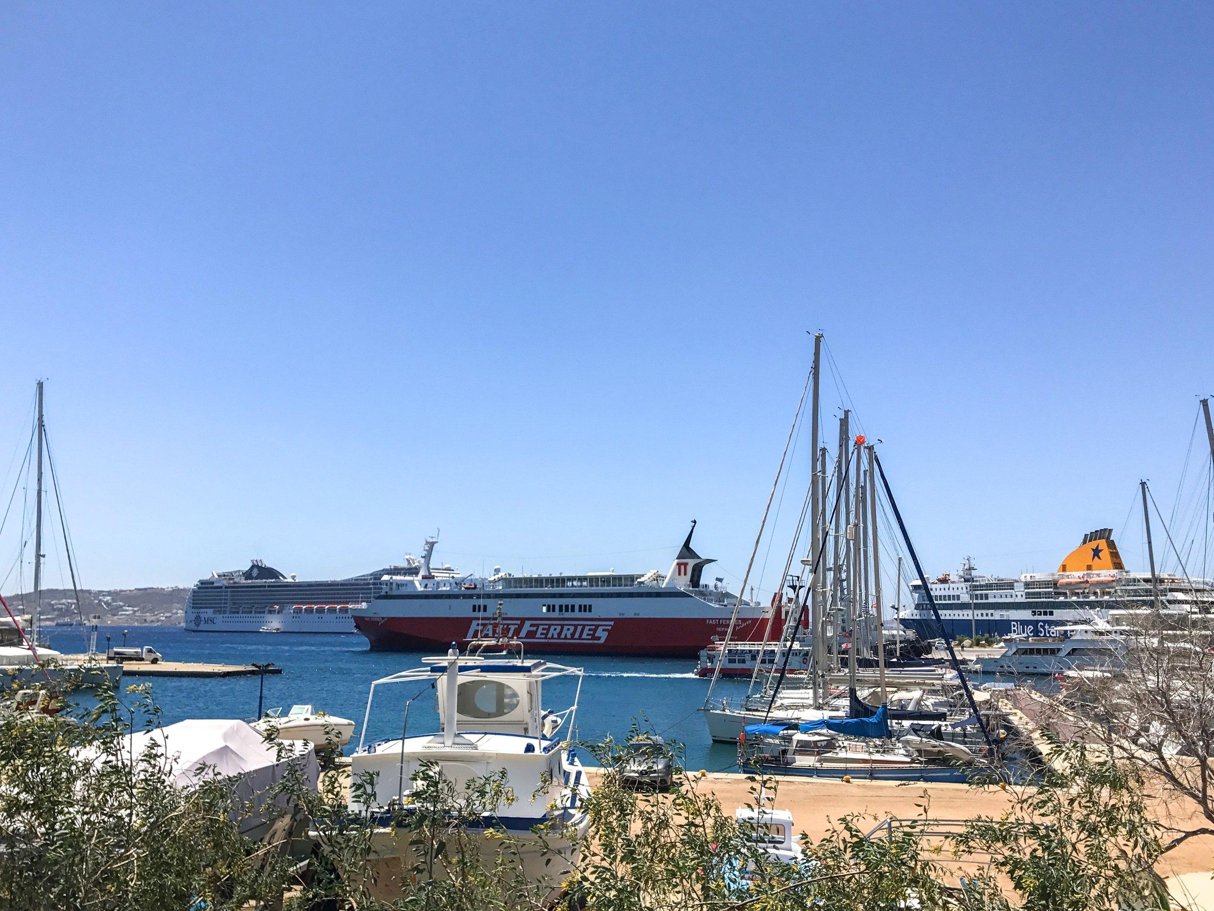 Ferries in Mykonos Port