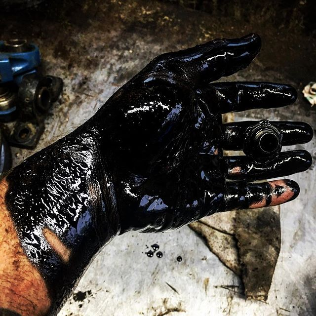 Who needs rubber gloves when you have used diesel oil?