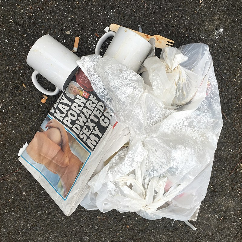 Newspaper, Mugs and Cigarettes, Someones Rubbish, 2015.