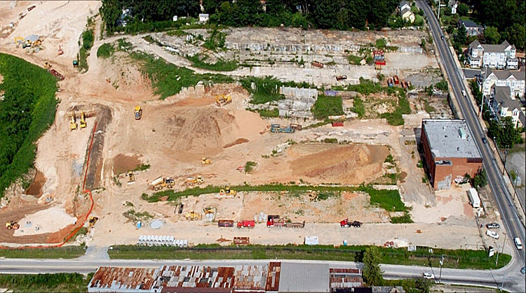 An aerial photo of Glenwood Park circa 2002. Prior to becoming a sustainability leading community, the 28 acre site was home to a concrete company.