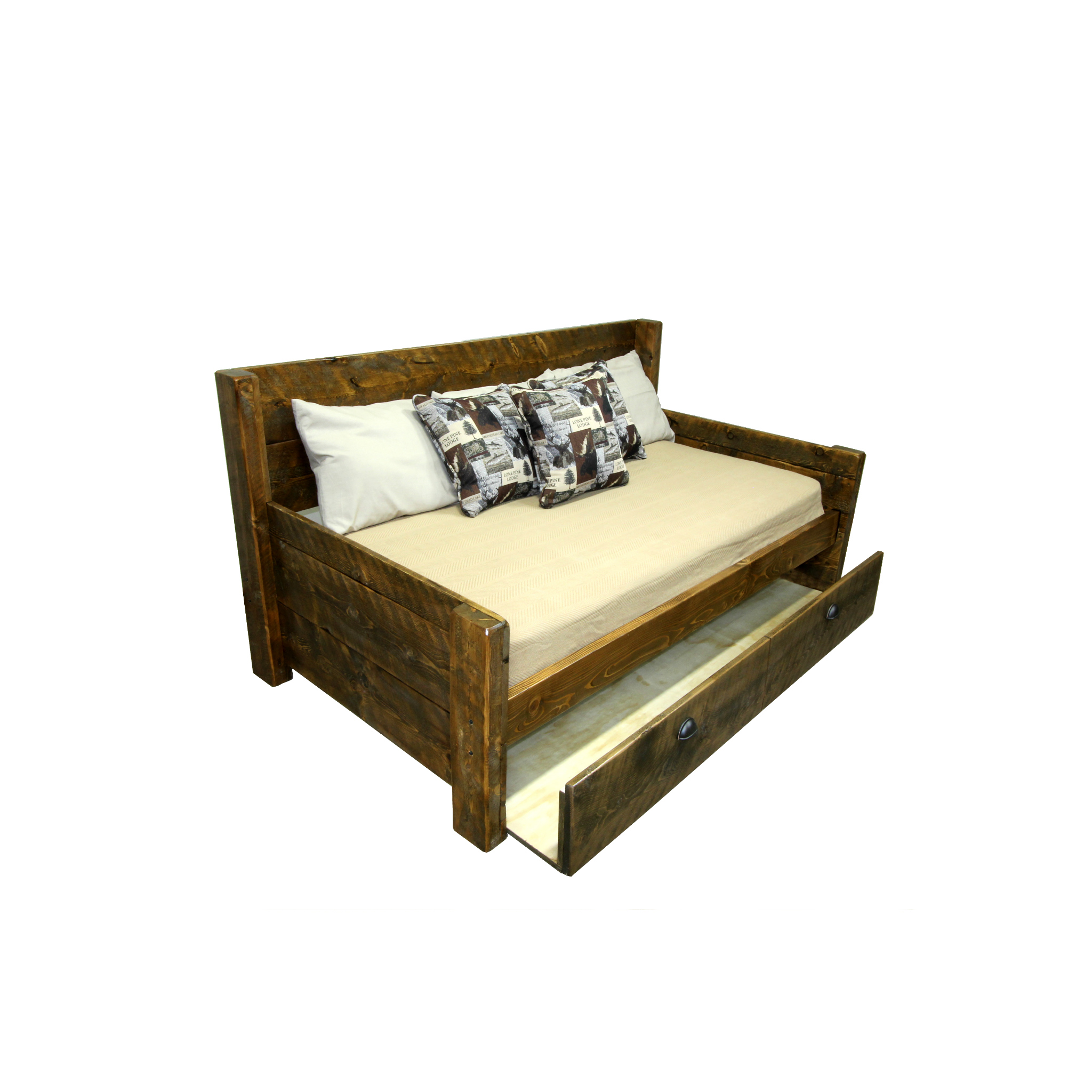 bitterroot day bed  Simple day bed with a pullout trundle. Shown in rough sawn - rustic brown.