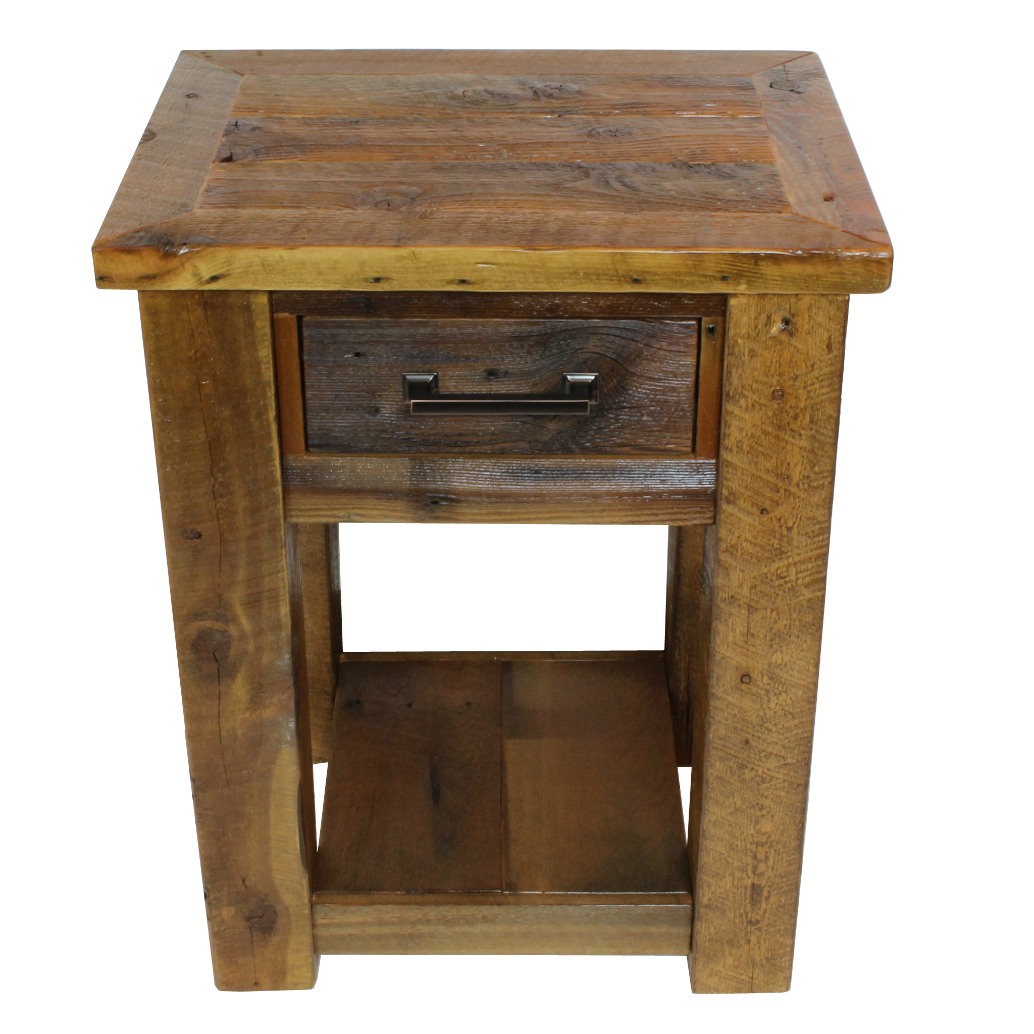 big sky night stand  Shown in reclaimed barnwood with a framed top. Part of the Big Sky collection.