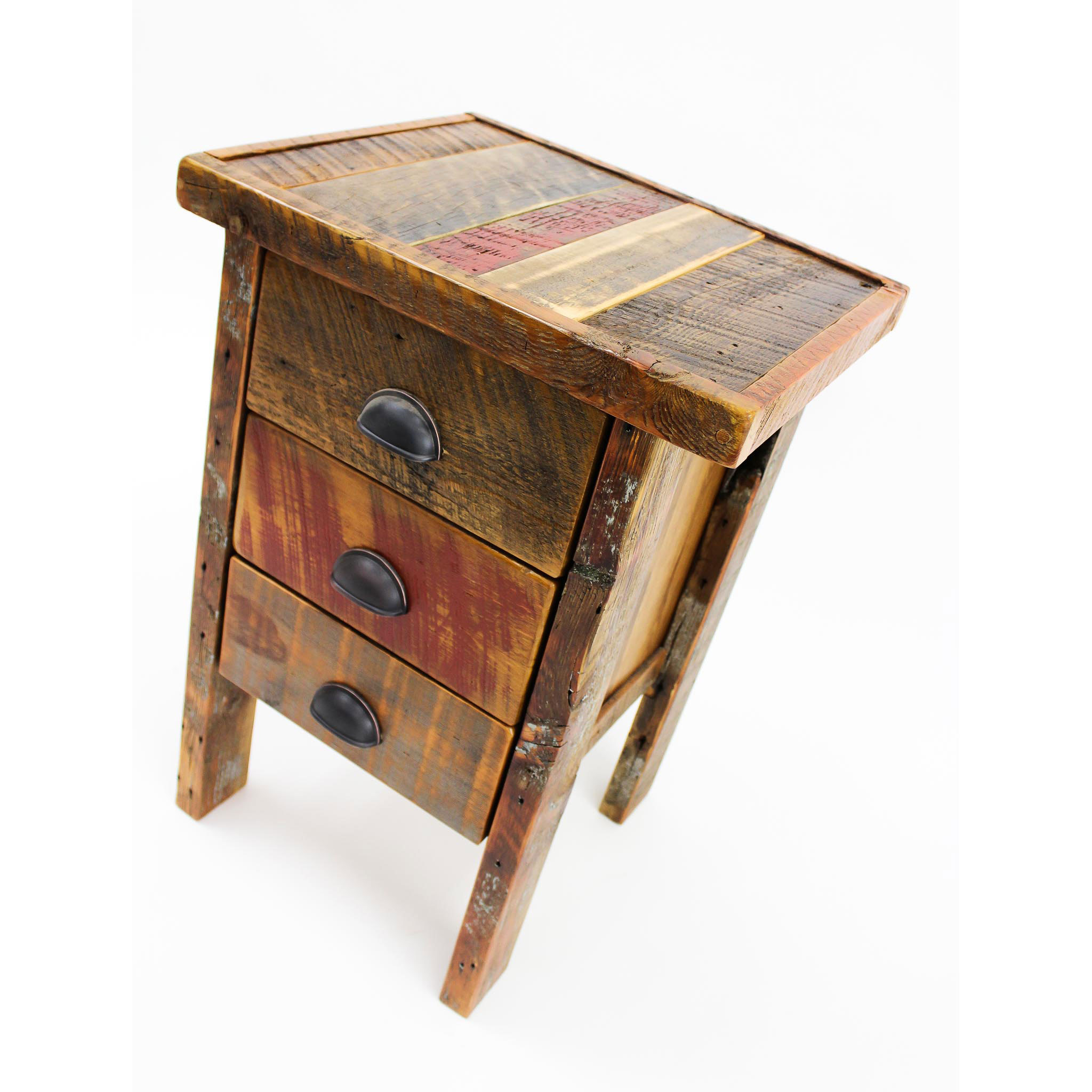 3 drawer night stand  Shown in reclaimed barnwood with an inlay top - Arizona color palette