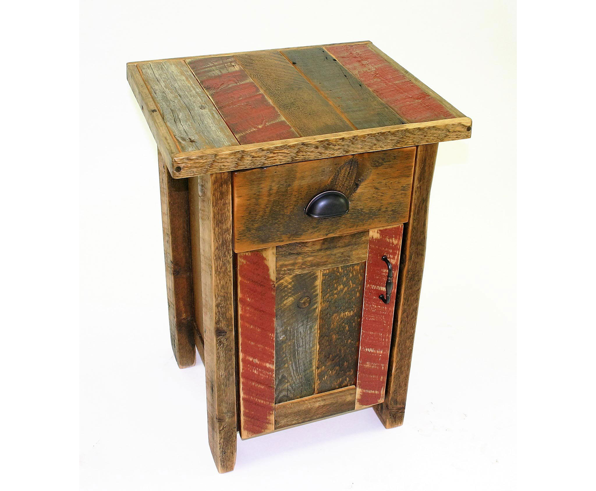 1 drawer cabinet night stand  Shown in reclaimed barnwood with an inlay top - Arizona color palette