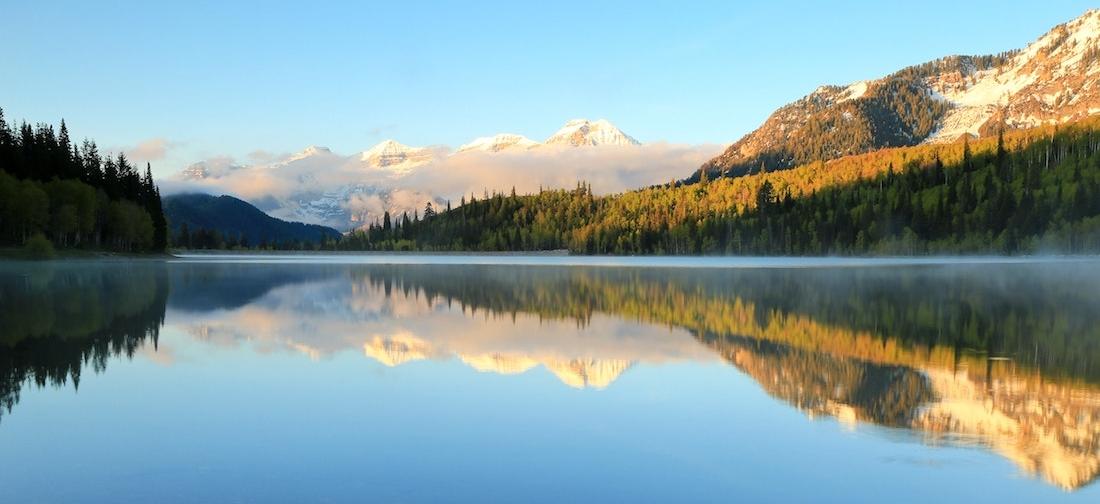 Mountains reflecting on lake