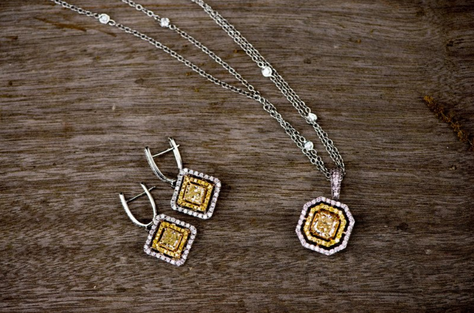 Yellow Diamond Pendant and matching earrings.png