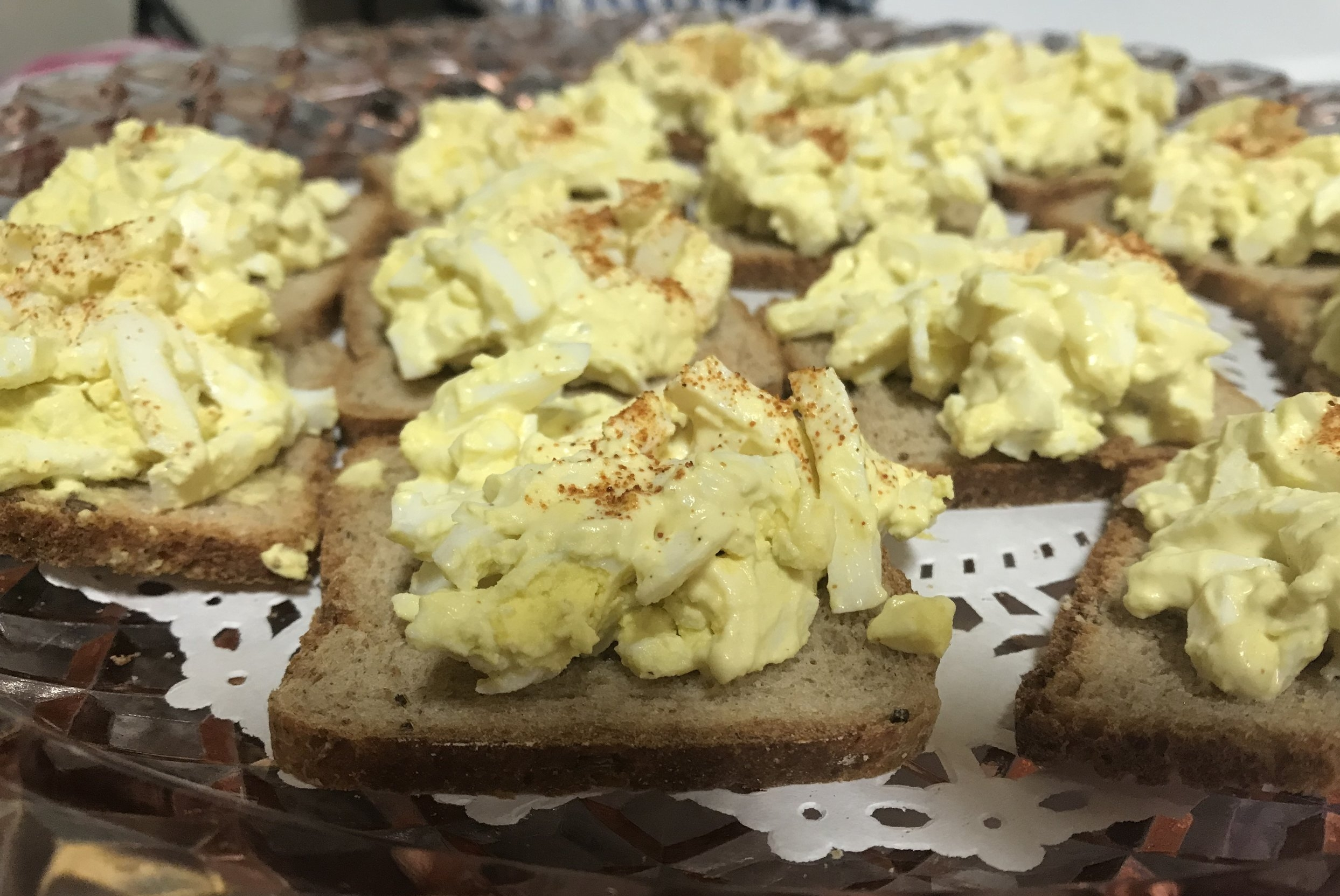 Sonja Nooman made these Norwegian egg salad dishes. She also helped serve food at the Scandinavian booth.