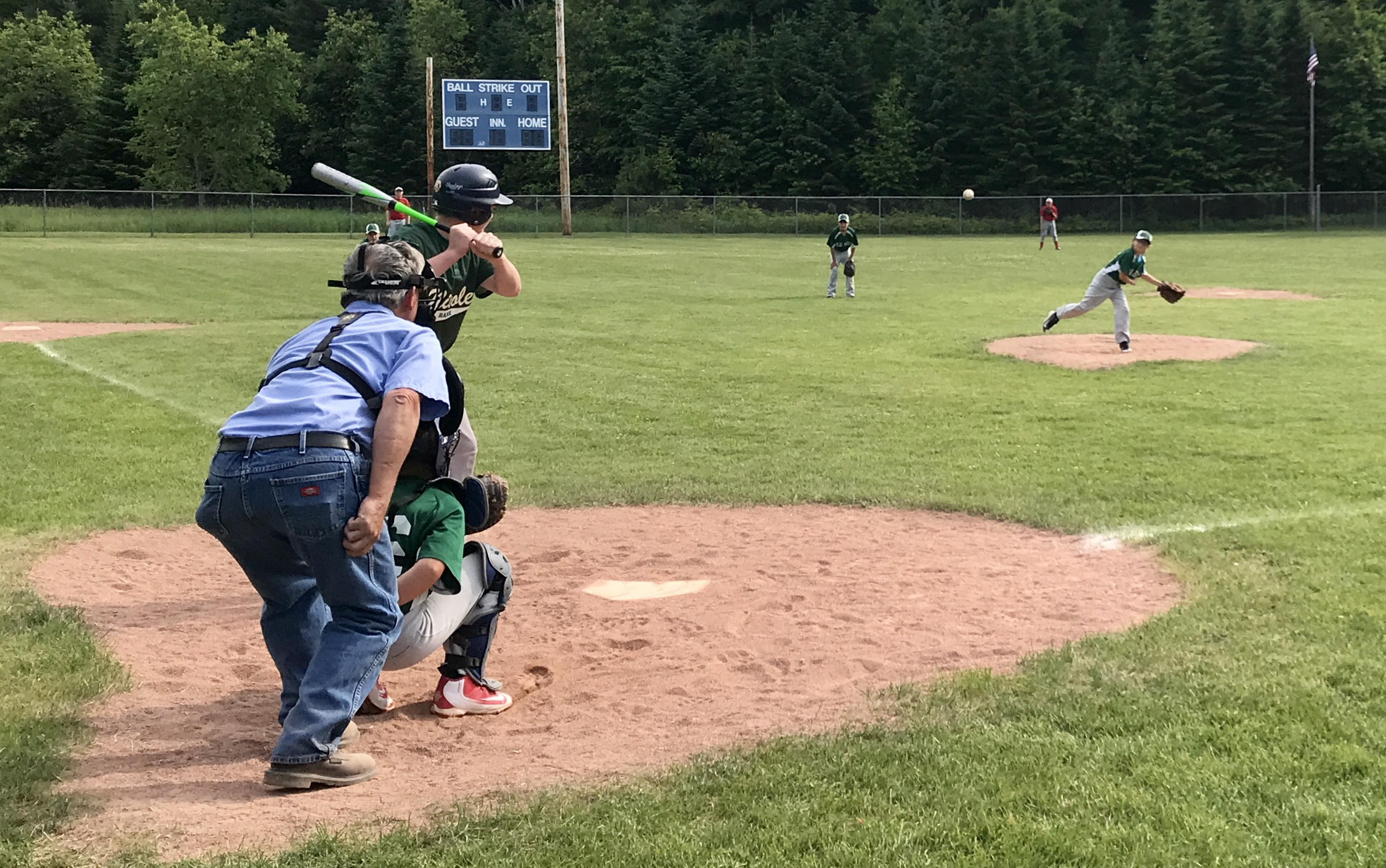 Fisher Grandy pitches during the Little League All-Star scrimmage after the game at home on Sunday, June 24. The Islanders II won the four-inning game, 7 to 4. After four full innings, all players from both teams lined up in the field by height and were counted off for a scrimmage. The scrimmage was not scored.