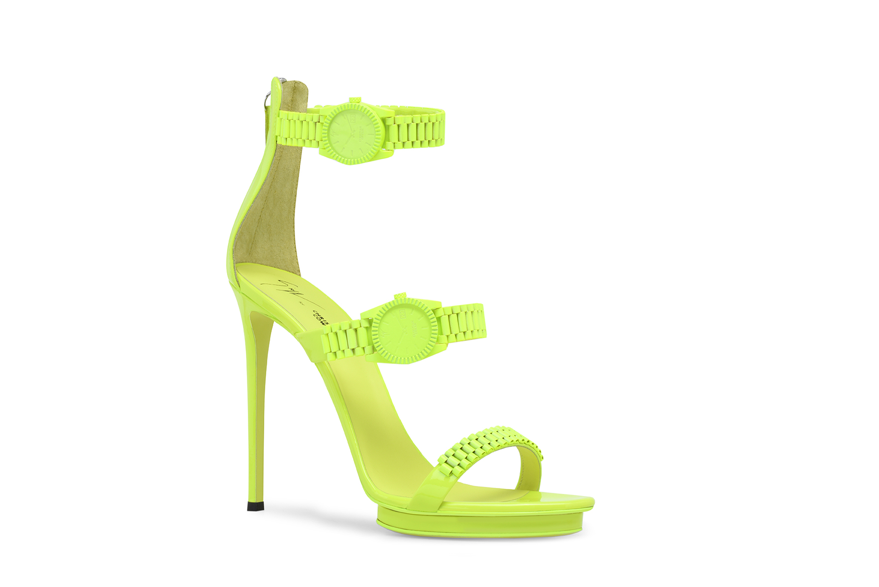 Safety Green Three-Strap Heel. COMING JULY.