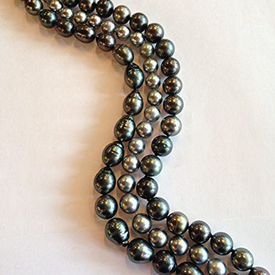 Black Tahitian Pearls - The pearls of Tahiti are commonly known around the world as Black Pearls and are cultivated mainly around the islands of Tahiti and French Polynesia. These exotic pearls have a dark body color, and come from the Pinctada Margaritifera, or black lipped oyster. They are considered the second most rare and valuable pearls in the world,right after South Sea pearls.Tahitian pearls come in a large variety of natural dark colors, from black to silver, greens to greys to browns. The most commercially desirable are black with a strong peacock overtone of green or rose. Tahitian pearls can range anywhere from 8 to 18 millimeters in size.