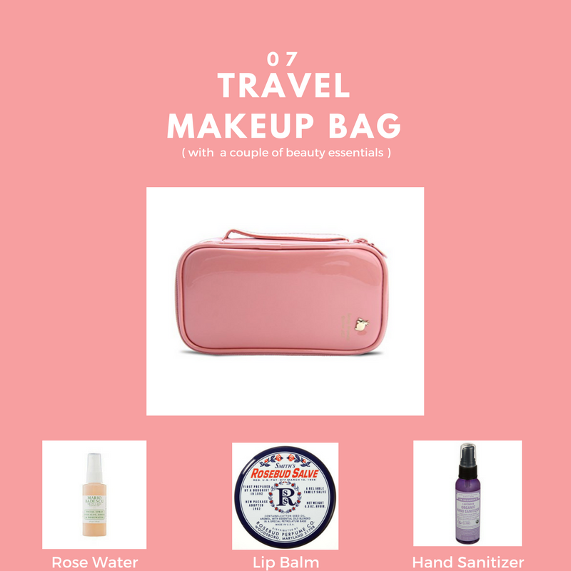 - Just throw it in the bag. This Samtour Makeup Brush Cosmetic Organizer is a compact makeup bag with multiple layers. It is perfect for holding all of your toiletry essentials in your carryon tote. When traveling every girl needs some basic products. I always carry MARIO BADESCU travel size facial spray with aloe, herb and rosewater to keep my skin hydrated. This product can be found at Ulta for $5. I love, Rosebud Salve lip balm. which can be found in Sephora for $6. To keep my hands clean while traveling, I use, Dr. Bronner's Lavender hand sanatizing spray, which smells amazing. This product can be found at The Vitamin Shoppe for $5.
