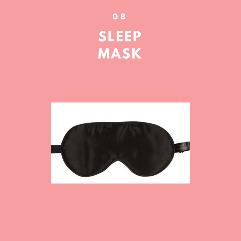 - A satin or silk sleep mask is the perfect accessory to go along with the neck pillow. The Jersey Slumber 100% Silk Sleep Mask is only $9 on Amazon.