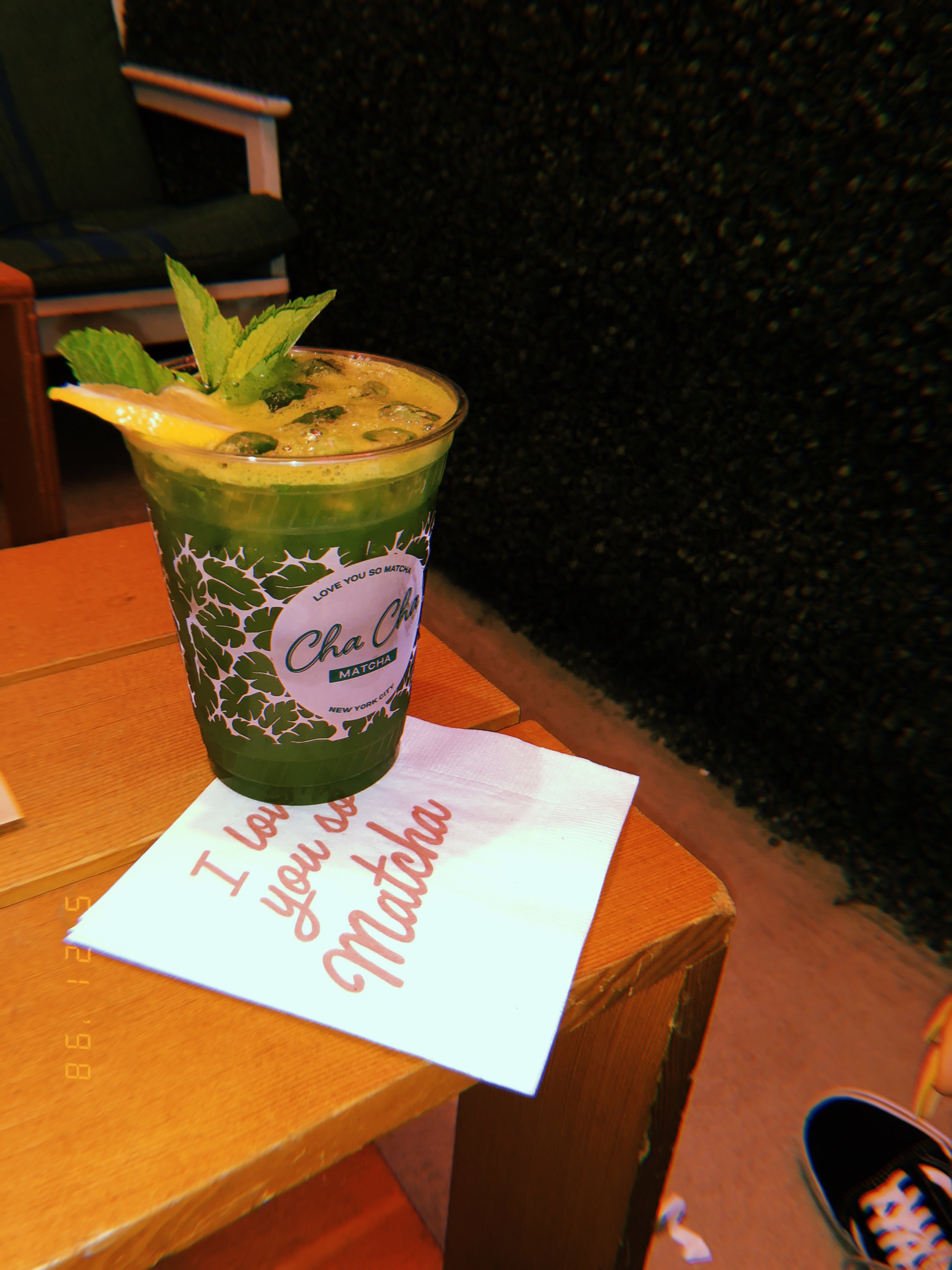 CHA CHA Matcha - I have a crazy obsession with matcha so when I found out about this place I had to try it. I ordered the Matcha Lemonade and it was deliciously refreshing. The atmosphere was so unique set up like a tiki bar with lounge chairs and trap music playing. Here is the matcha bar info below.373 Broome St. New York, https://chachamatcha.com/