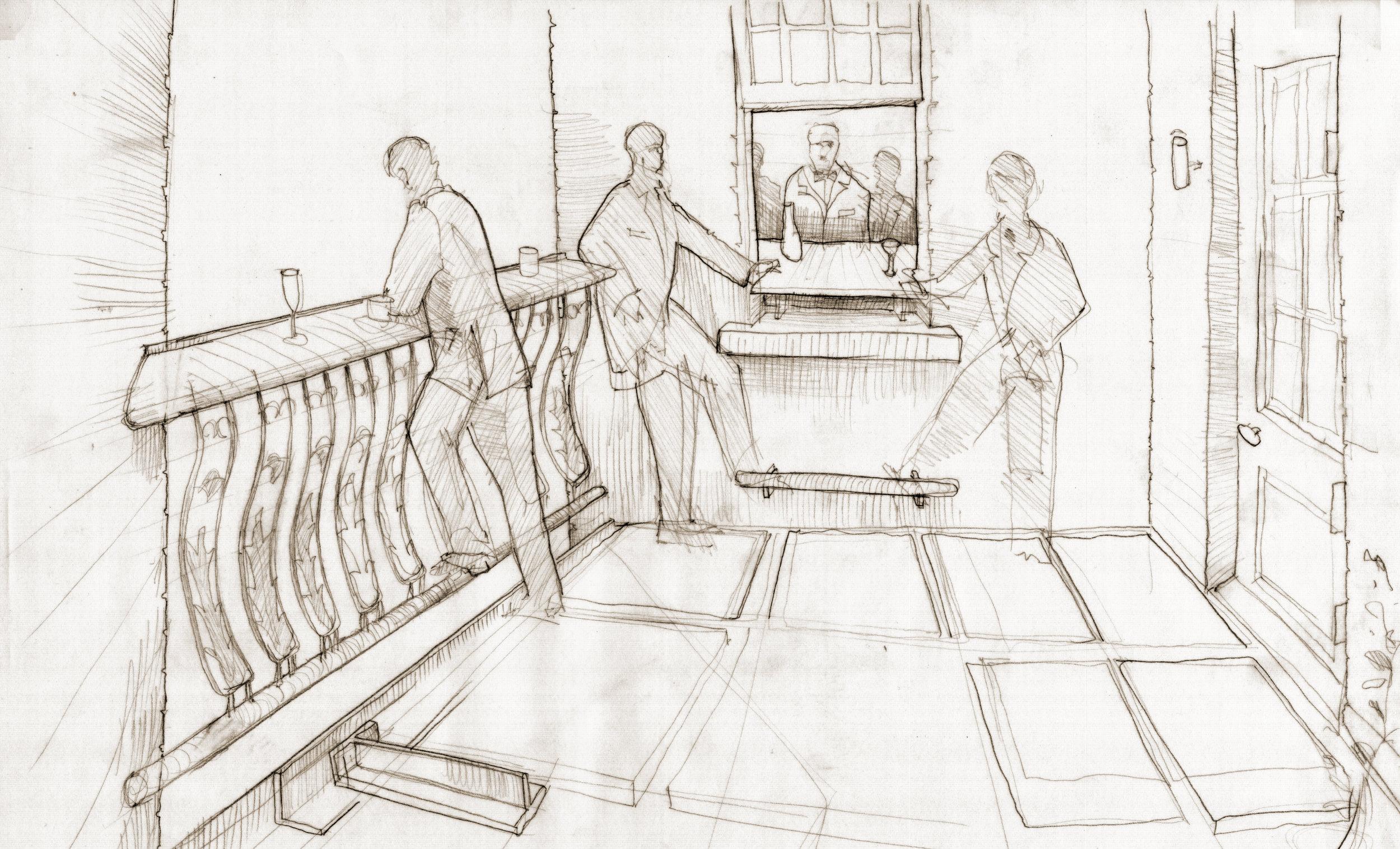 proposal sketch of first floor balcony extension overlooking courtyard below