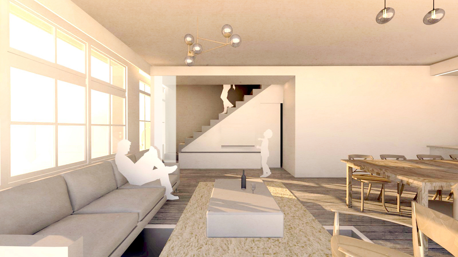 proposed new ground floor, converted garage to living room