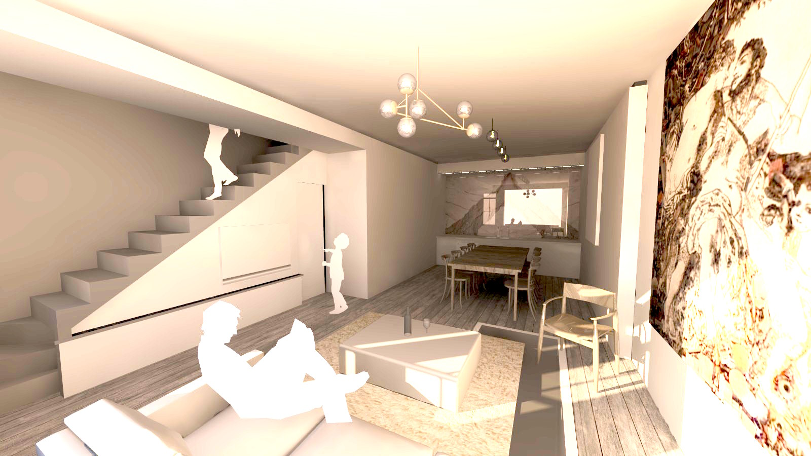 proposed new ground floor, converted garage to living/dining/kitchen