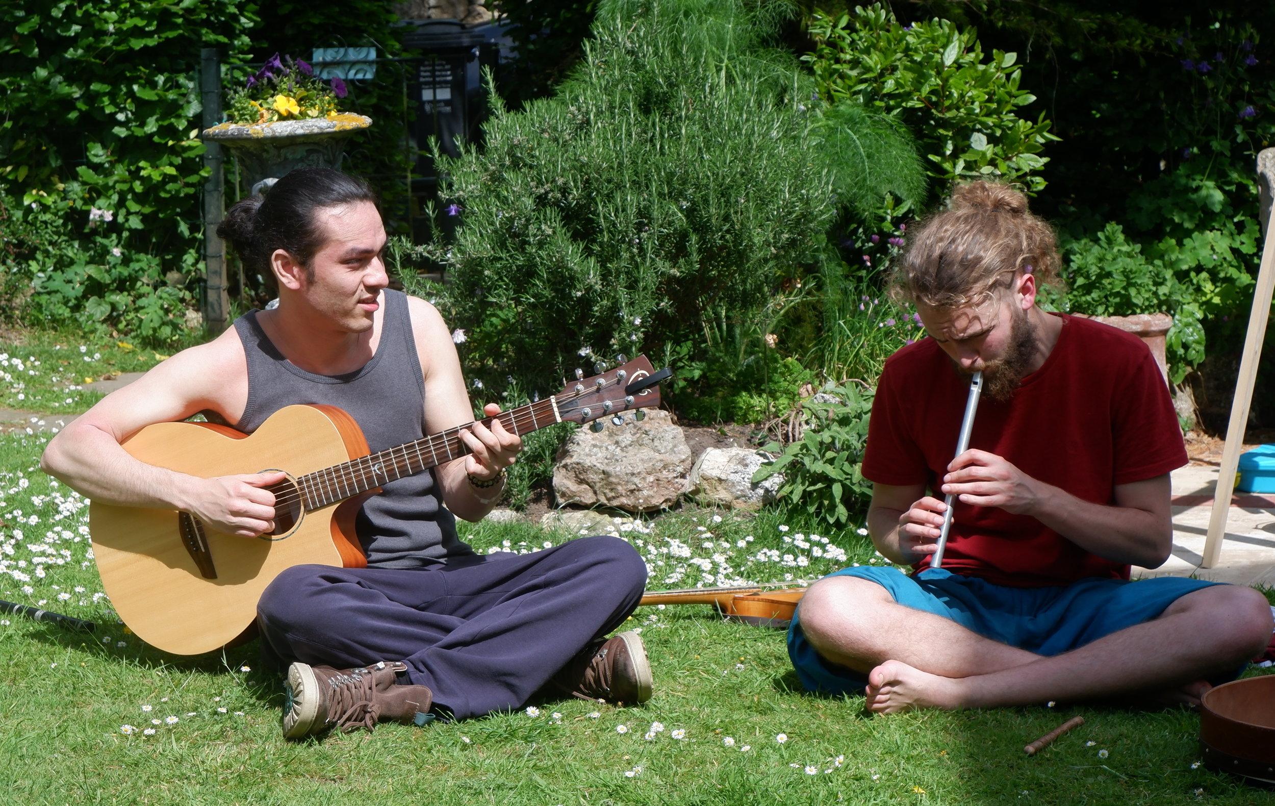 Jon and Tenzin in Garden.JPG