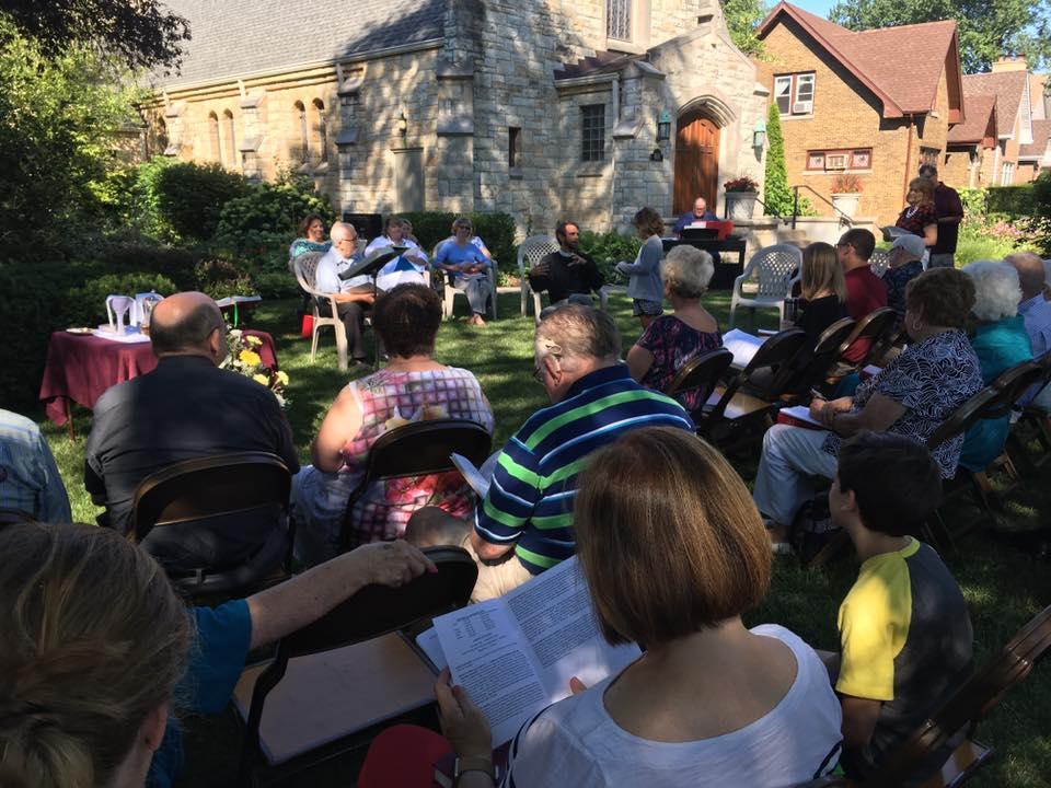 Summer worship in the garden.