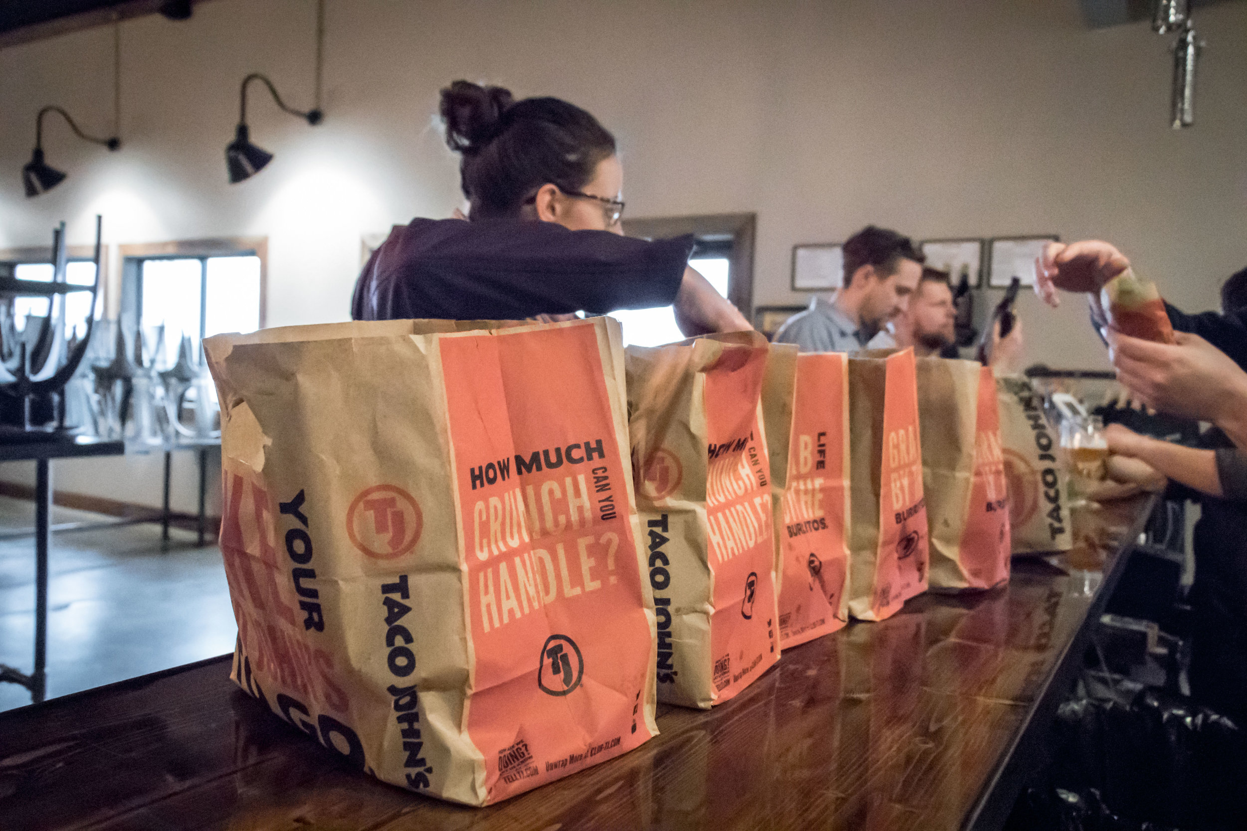 The brewing of Taproom Ale was fueled by multiple tacos and a couple pounds of potato oles.