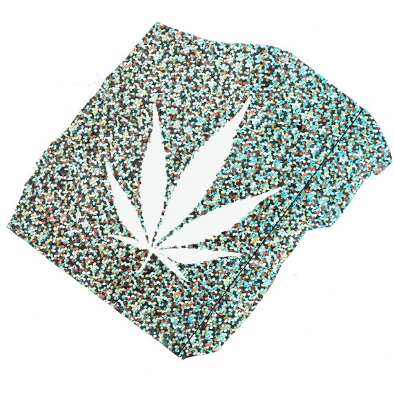 Digital Collage: Holographic mylar with cannabis fan leaf branding. Cheechable, 2019