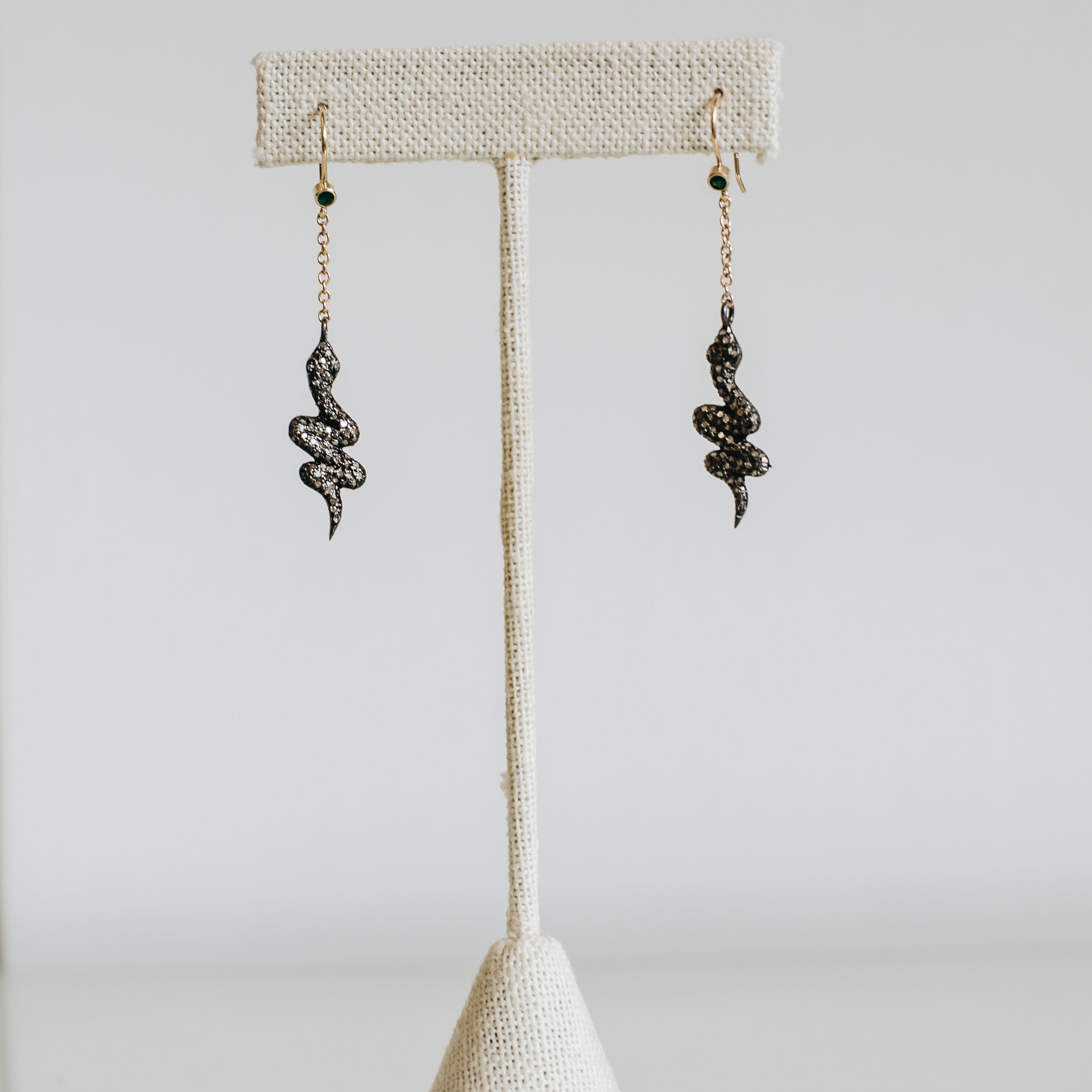 Oxidized Silver Gray Diamond Earrings