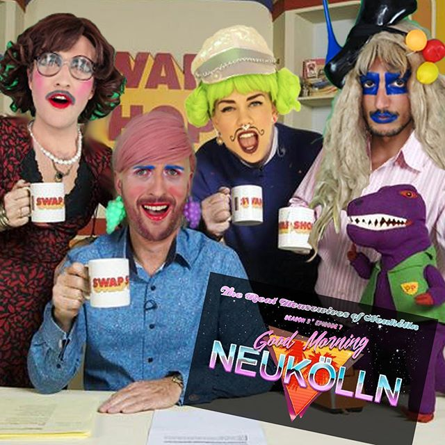 Coming to you live from the Channel 1.5 news room, it's everyone's favorite chat show, 'Good Morning Neukölln!' Come on down for next week's main show to jive with the funkiest team of housewife reporters this side of the Berlin Wall!! #therealhousewivesofneukölln #trhon #trashdrag #goodmorningneukolln #morning #talkshow #chatshow #news #newsanchor #realness #daytimetv