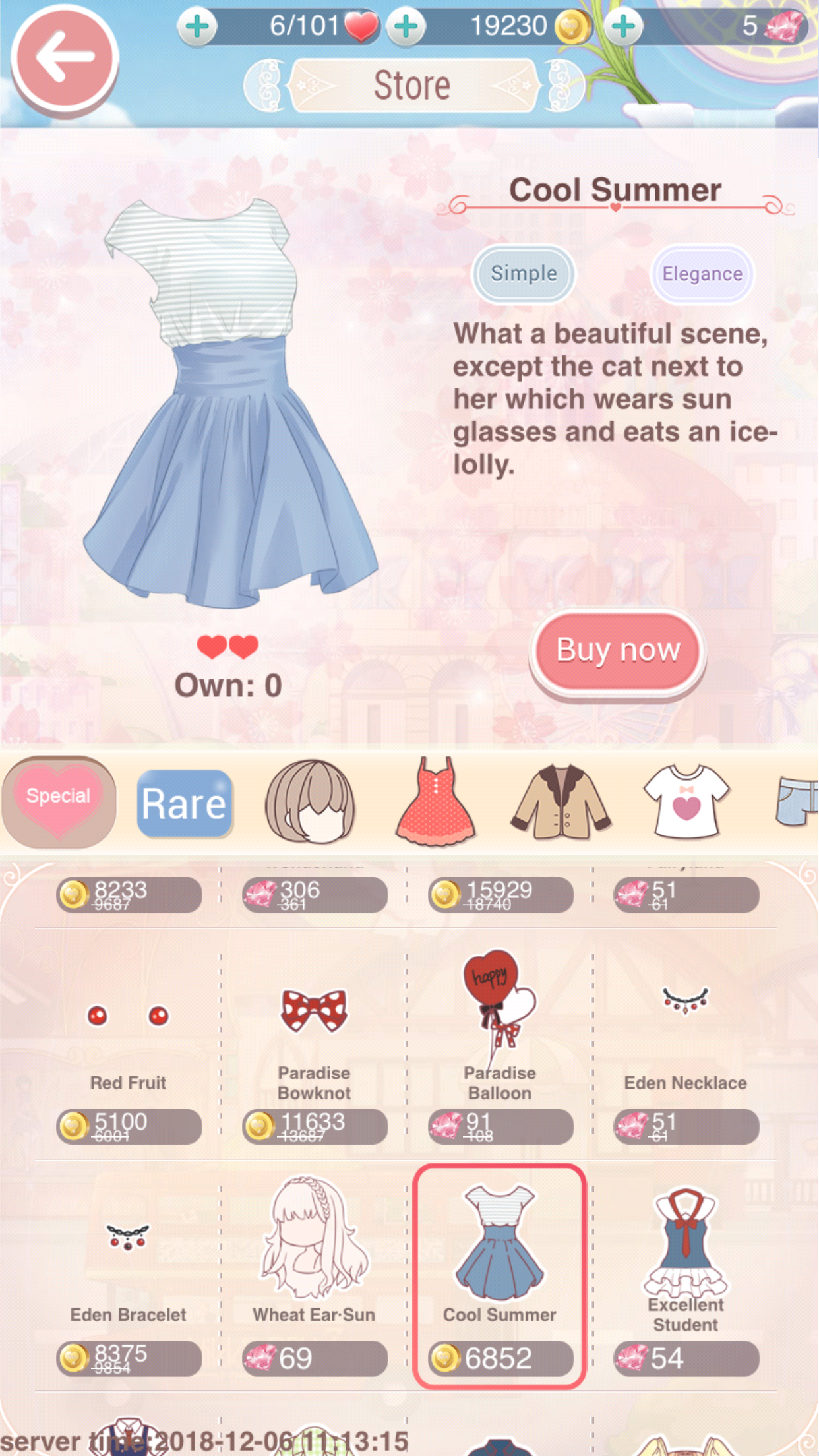 A dress, purchasable in the game's Store.