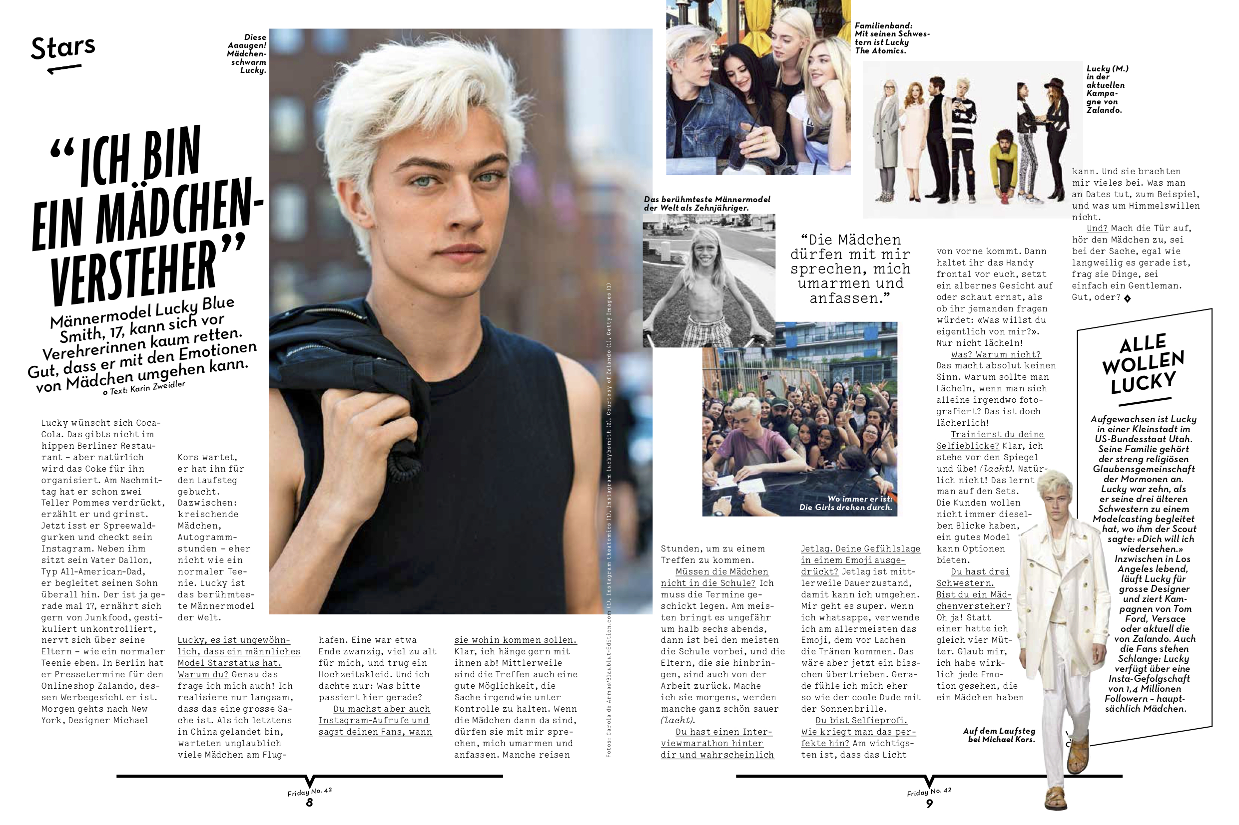 LUCKY BLUE SMITH / FRIDAY MAGAZINE 2015 / INTERVIEW