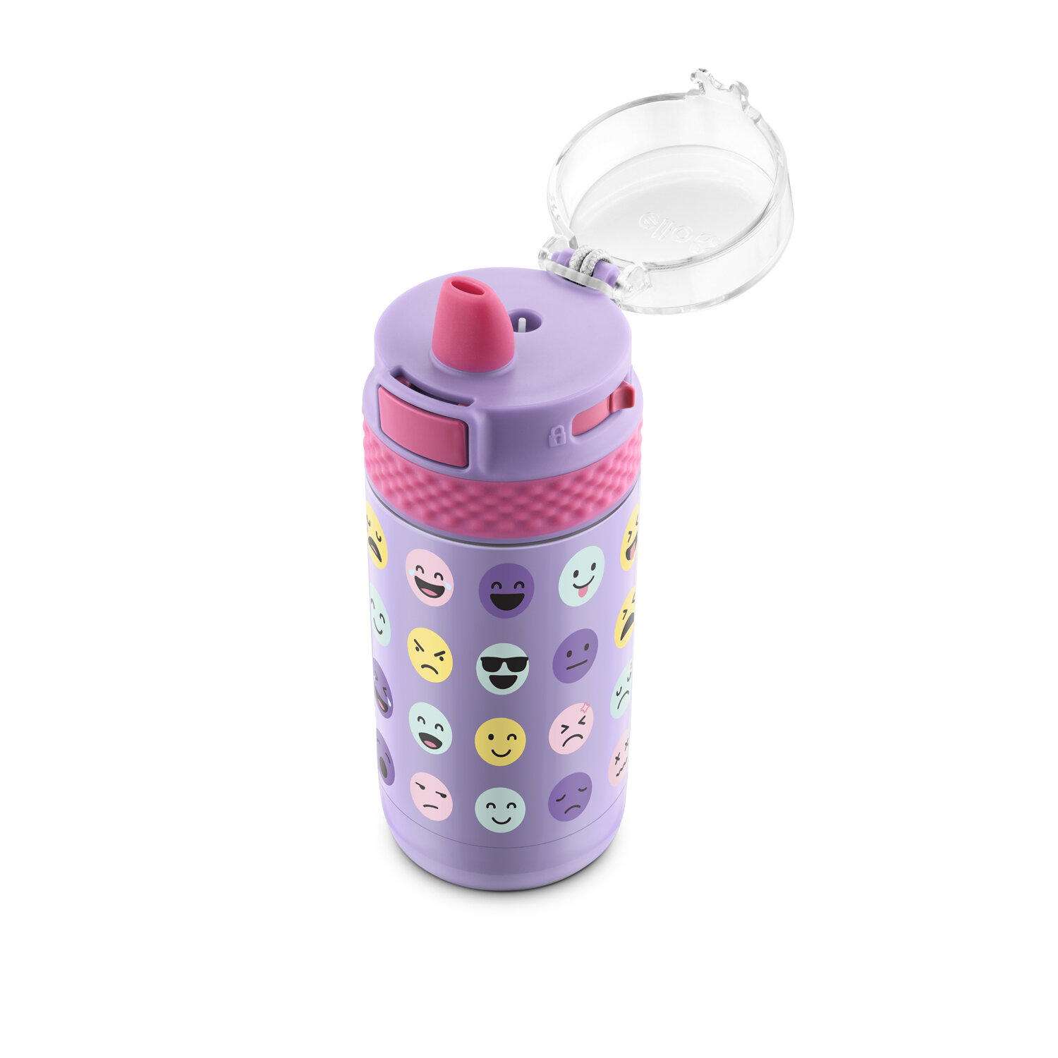Smiley Faces Ello Ride 12oz Stainless Steel Kids Water Bottle