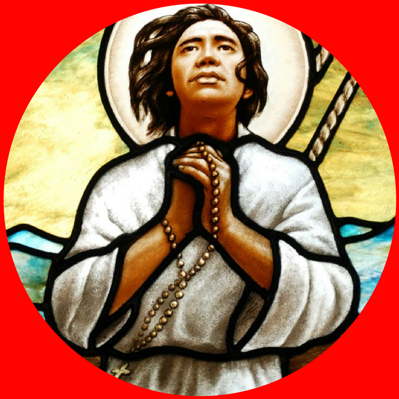 "St. Lorenzo Ruiz    Feast Day:  Sept 28   Nation:  Filipino, Oceania      Dates:  ca. 1600-1639   Age at death:  39            Vocation:  Husband   Work:  Calligrapher, Mariner, Catechist        ""First"":  Filipino martyr             Course Patron:  Calligraphy; Physics   Quote:  ""If I had a thousand lives, I would give them all for Jesus Christ.""       Lesson for Life:  He embraced death heroically because he had lived faithfully."