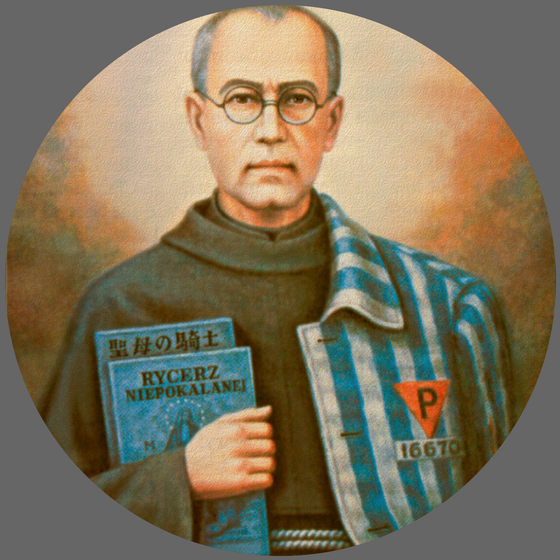 "St. Maximilian Kolbe     Feast Day:  August 14   Nation:  Polish; Eastern Europe   Dates:  1894-1941       Age at Death:  47           Vocation:  Priest   Work:  Founder of Militia of the Immaculata; Publisher   ""First"":  Martyr of charity   Course Patron:  Ethics and Culture Seminar; Journalism; Digital Media      Quote:  ""I am a Catholic priest. Let me take his place.""   Lesson for Life:  True manly strength came from his devotion to Mary Immaculate. Faith showed his enemies the dignity of the prisoners."