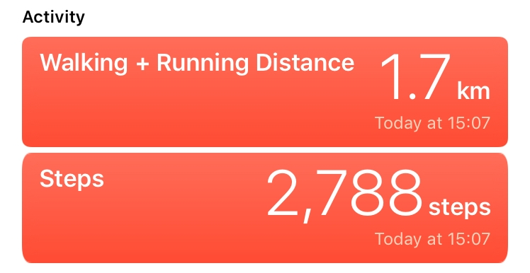 I'm using the IOS health app to track my steps in each day, I wasn't very active today so I went for a walk.