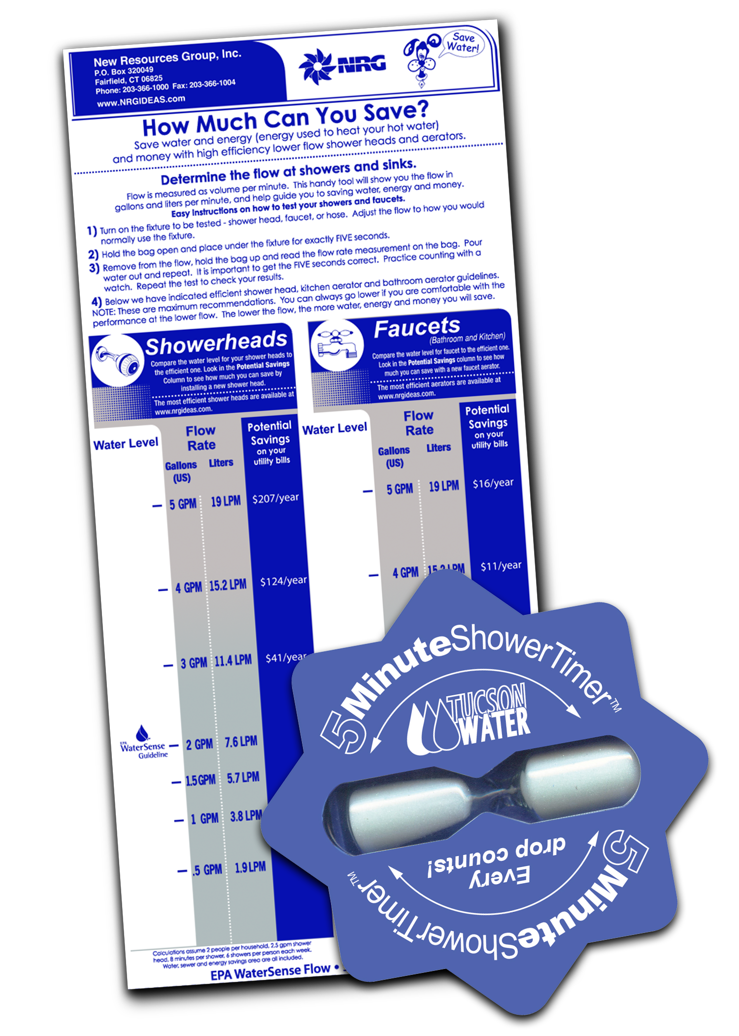 Each student receives a flow rate bag to calculate home shower and faucet water use, and a shower timer encouraging reduced water use by limiting showers to 5 minutes or less.