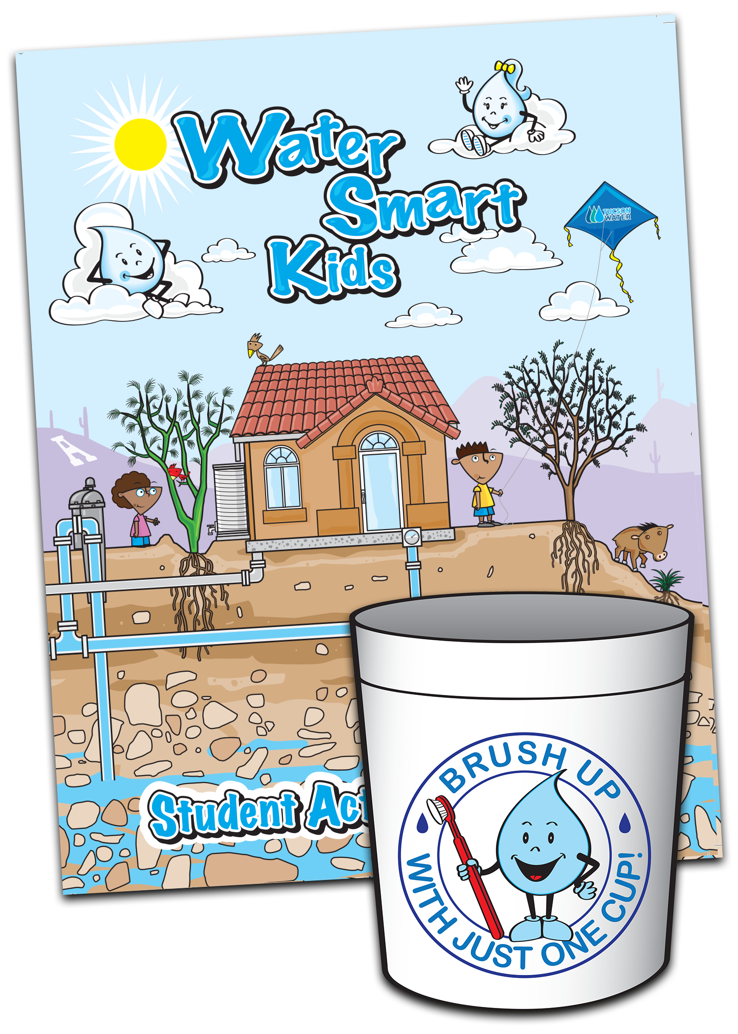 "Each student receives a Water Smart Kids activity booklet and a ""Brush Up Cup"" encouraging reduced water use while brushing teeth."