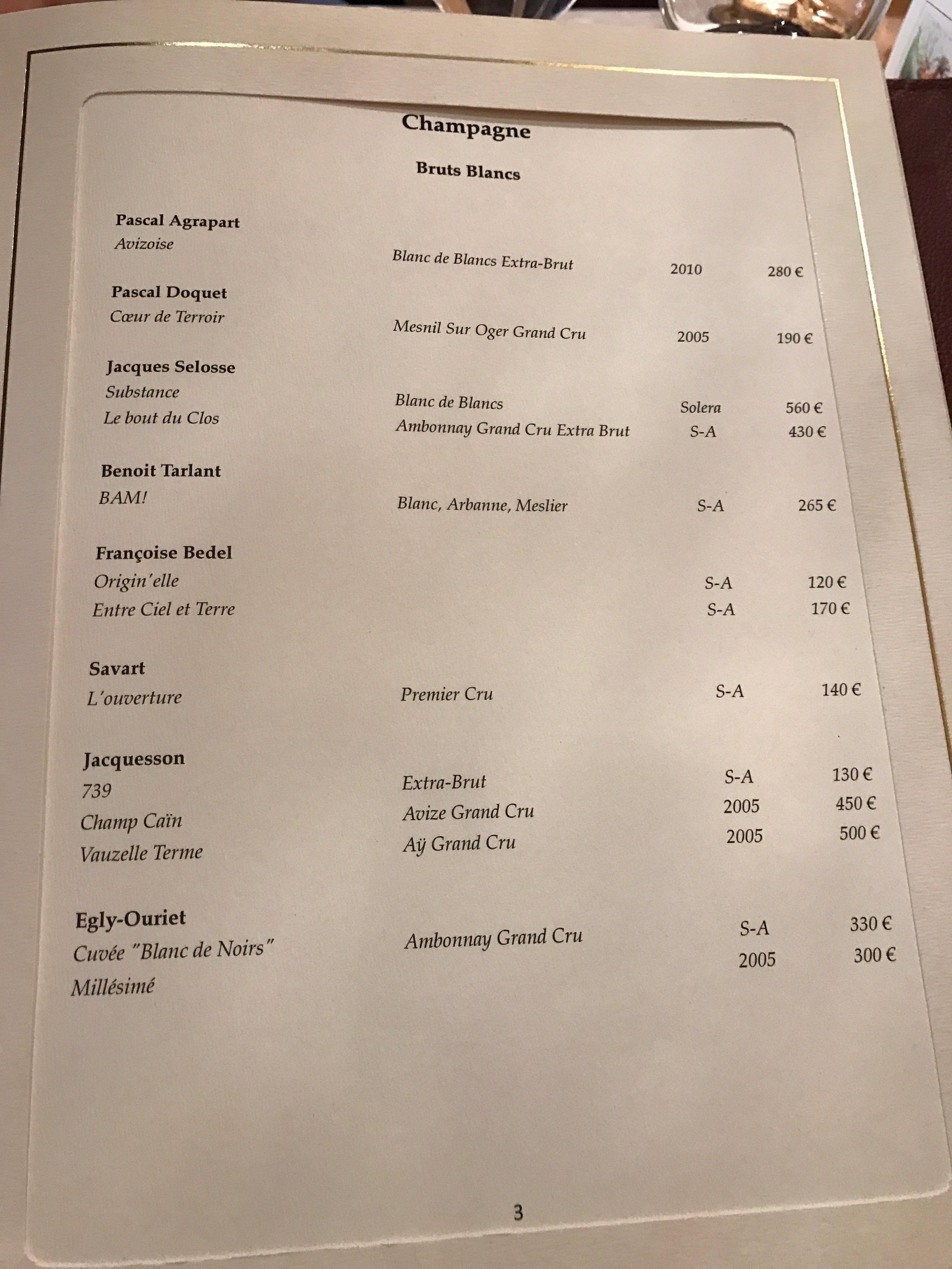 The wine list at the 3 Michelin star Arpége. Paris.