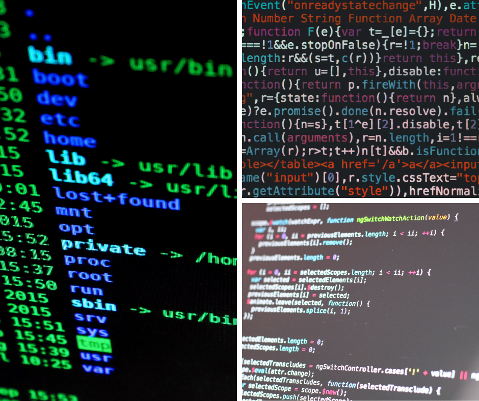 Collage image of computer code. Stock images.