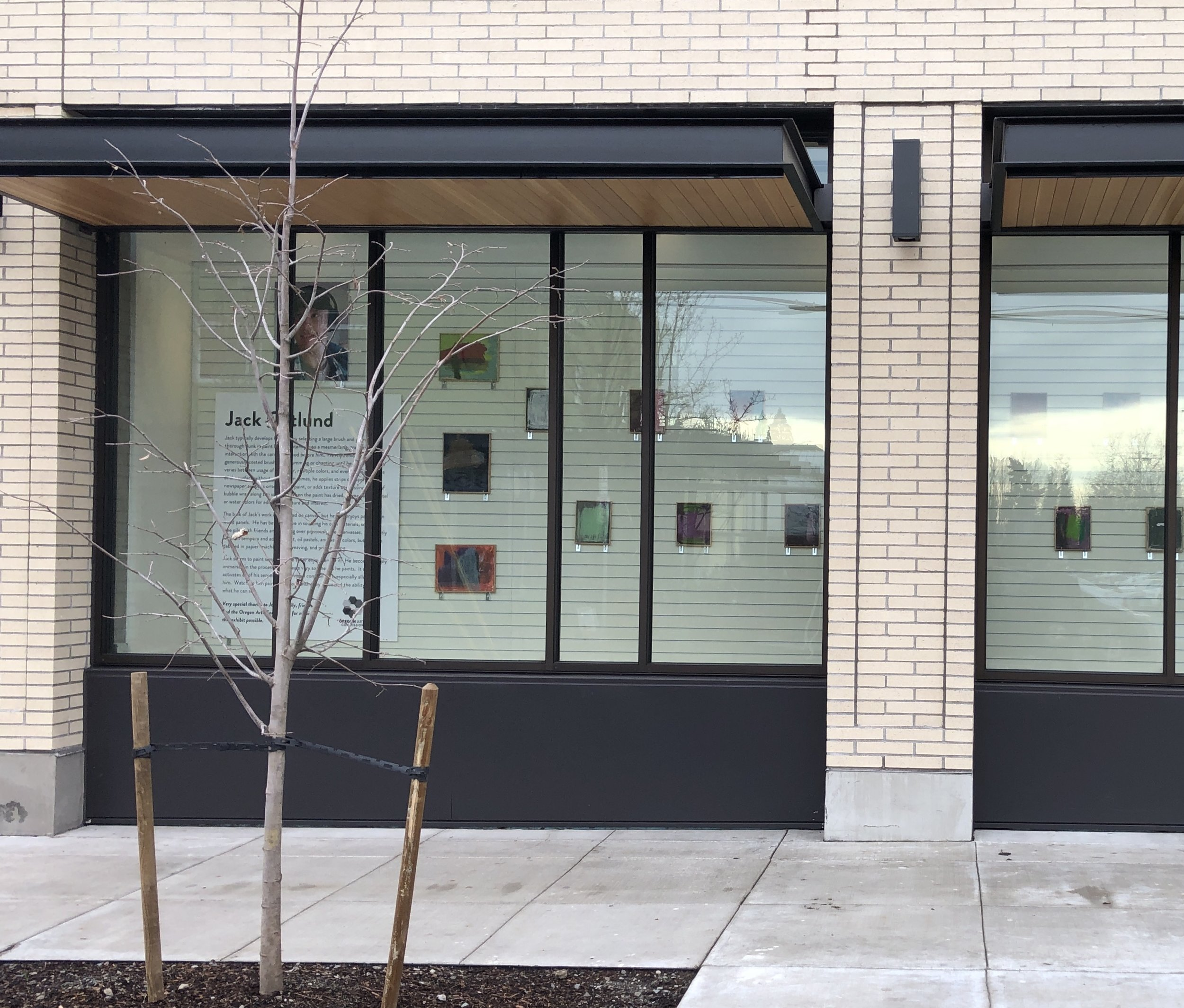 Image of the the Art Gallery at Seven Corners Collaborative visible from SE Division Street. Courtesy of CPI.