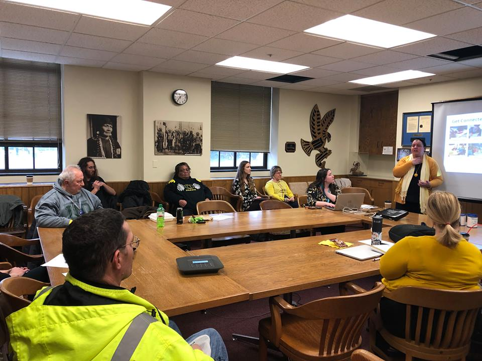 Image description: A group of advocates sitting around a conference room listening to a presentation on legislative advocacy at the Oregon State Capitol in Salem in February 2019./Oregon DD Coaltion at https://www.facebook.com/ORDDCoalition/photos
