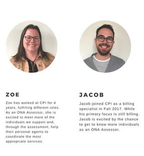 Portraits of Zoe and Jacob, Community Pathways staff members and ONA Assessors.