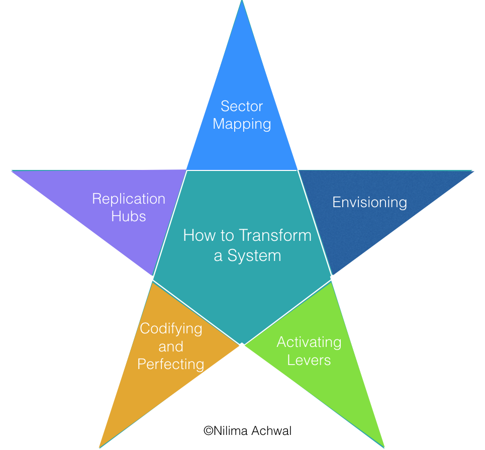 Star PointSystemic Change - Sector Mapping allows us to identify all of the players in a sector (or system), how they interface, and most potent areas for intervention.Envisioning frees us of all internal and external barriers, allowing us to imagine the worlds in which we want to live, and work backward toward tangible next steps, products, metrics, solutions, and collaborations.Activating Levers answers the question: What is the most accessible entry point for the most expansive, powerful, transformative, and rippling impact that we can create? This step often results in the creation of a new program, initiative, product, or solution.Codifying learnings and iterating on the solution based on groundwork, perfects the social change mechanism and prepares it for replication.Replication hubs seamlessly scale a social impact solution nationally or globally, actively involving communities in co-creation and continuous geographical iteration, and aggregate long-term data for deeper and wiser impact.©Nilima Achwal