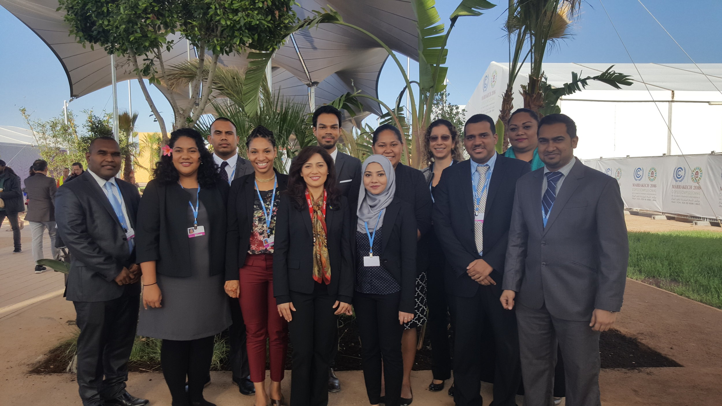 The 2014, 2015, and 2016 classes of AOSIS Fellows supporting AOSIS at COP22 in Marrakech.