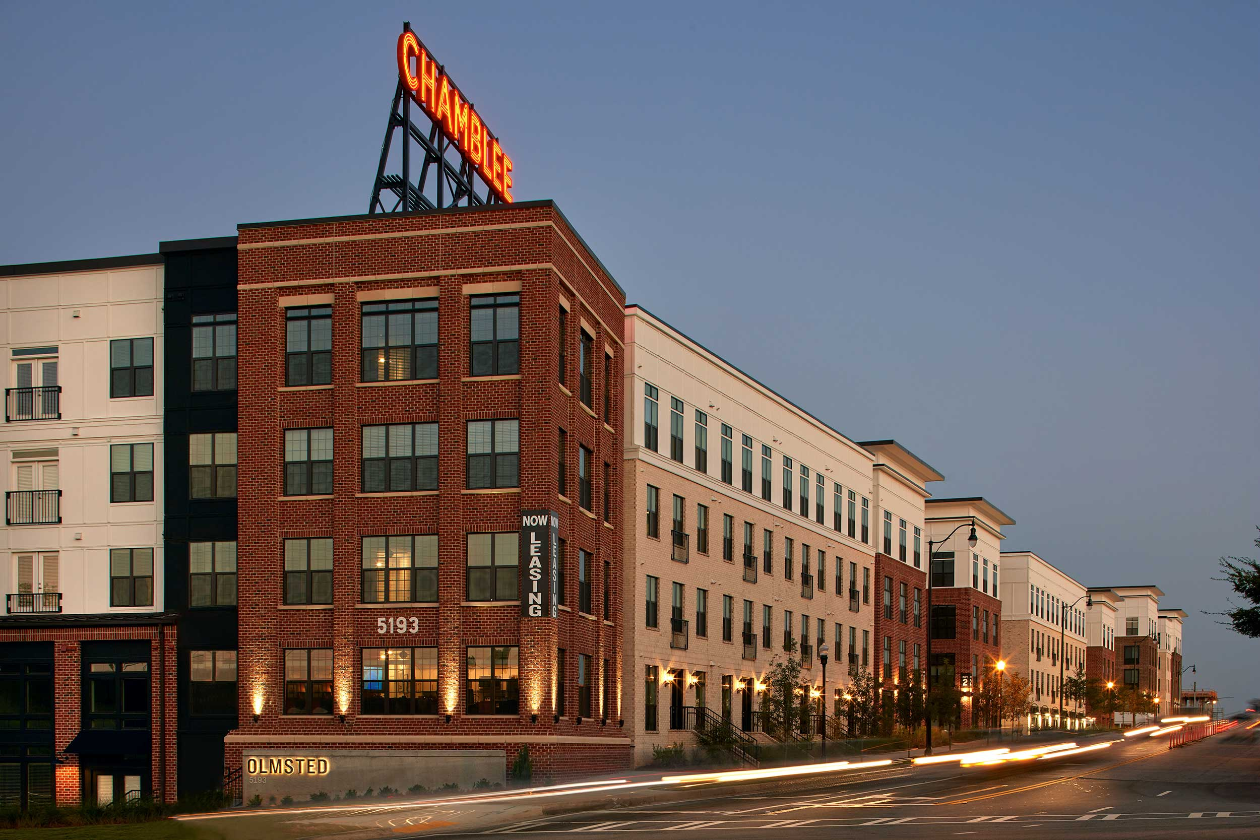 This mixed use project in Chamblee, Georgia is called The Olmsted, but the retro rooftop signage proclaims your arrival to the gateway of this happening metro Atlanta city.