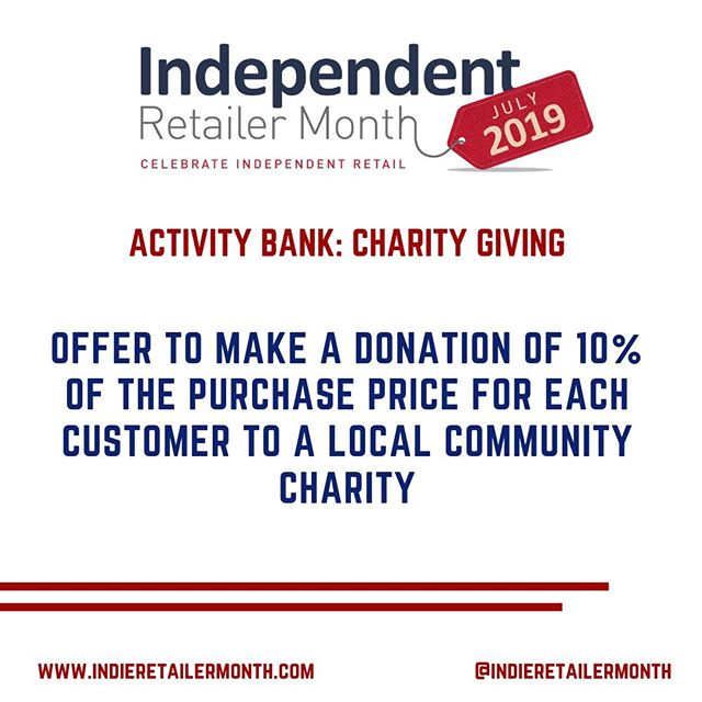 Still looking for impactful ways to incorporate #IndieRetailerMonth celebrations into your store? Offer to make a donation of 10% of the purchase price for each customer to a local community charity and encourage residents to support you this July and beyond! . . . #activities #fun #events #engage #community #celebration #indieretail #indieretailer #shopping #lovelocal #supportlocalbusiness #localshop #locallyowned #independentretailer #independentretailermonth #indieretailermonth #retail #store #smallbusiness #smallbiz #entrepreneur #love #week #inspo #stats #insight