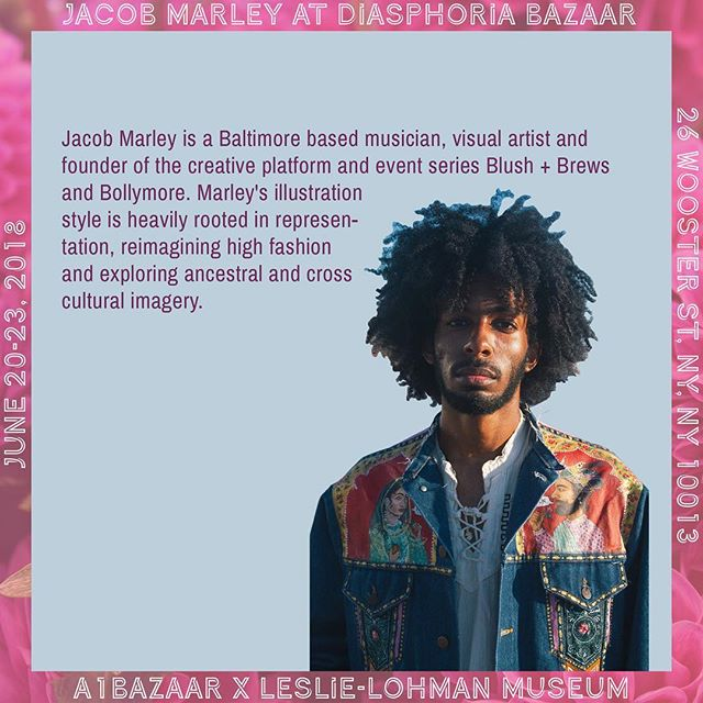 Jacob Marley (@itsjacobmarley), one of the founders of @bollymore410, will be exhibiting art at the bazaar. Are you coming? 👀🍭 ✨ ✨ 💌RSVP: bit.ly/diasphoriabazaar 📍Location: 26 Wooster St @leslielohmanmuseum 📆 Dates: June 20, 21, 22, 23 🕰Time: 12-6pm ✨ ✨ #a1bazaar #diasphoria #nycpride #pride2018 #supportartists #art