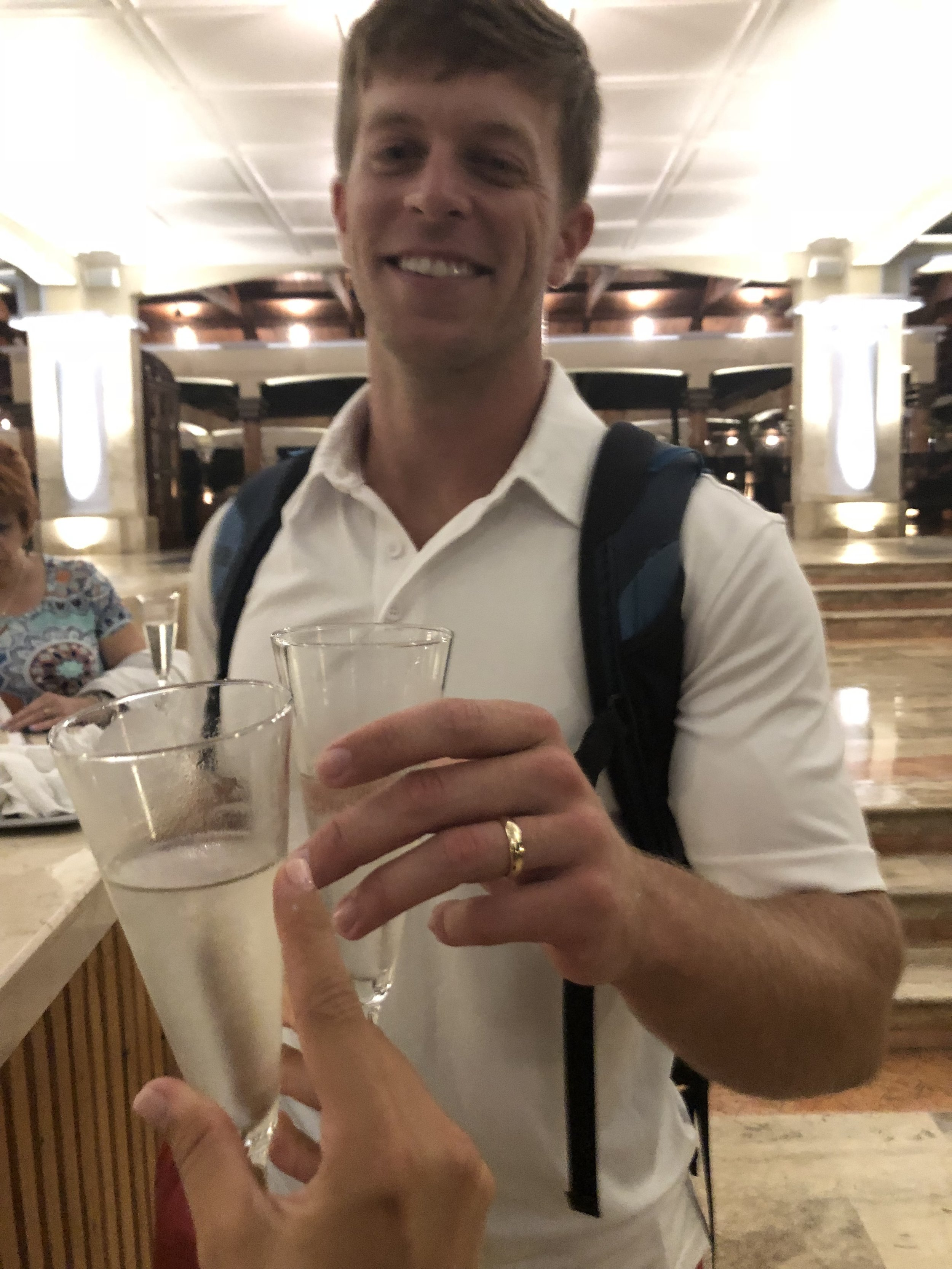 Champagne upon arrival and a private check-in for Excellence Club members. I highly recommend upgrading your package to get extra perks like a bar in your room, private dinners, a private beach area, exclusive restaurants and expedited check-in and out.