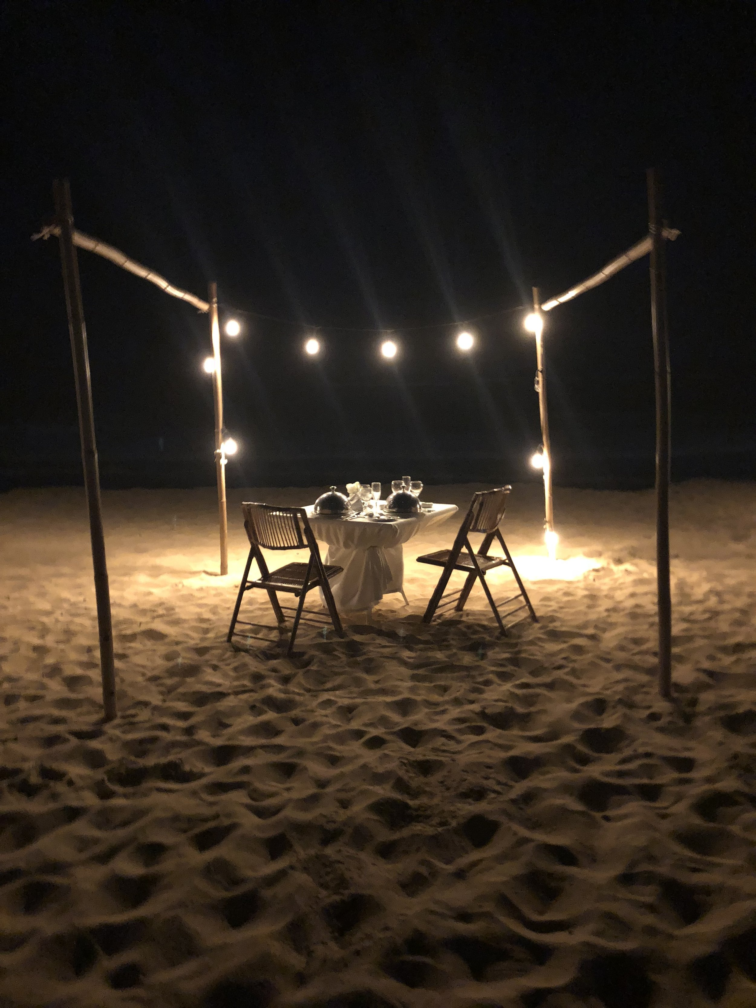 One of my favorite parts of the whole week was the private beach dinner!  It was a 5-course meal and it was so delicious! We set this up through the resort and got a 50% discount because of the package we selected. It was such a sweet dinner. The service was amazing! I had steak and lobster and Hunter had shrimp and scallops.  I would do this again ten million times!