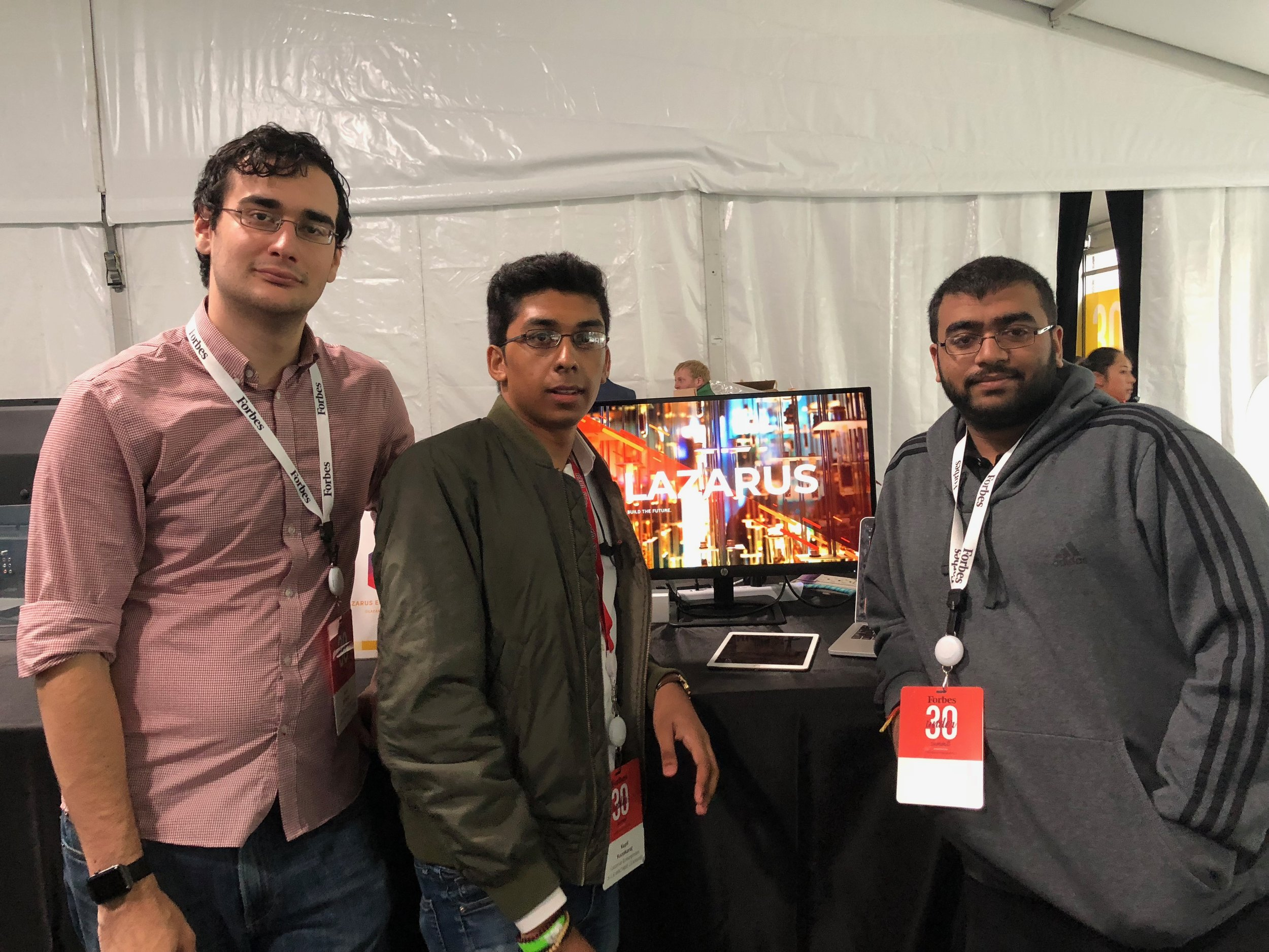 The Lazarus Founding Team at the 2018 Forbes 30 Under 30 Summit. (From left: Ariel Elizarov, Kapil Kanakaraj, and Anish Patel)